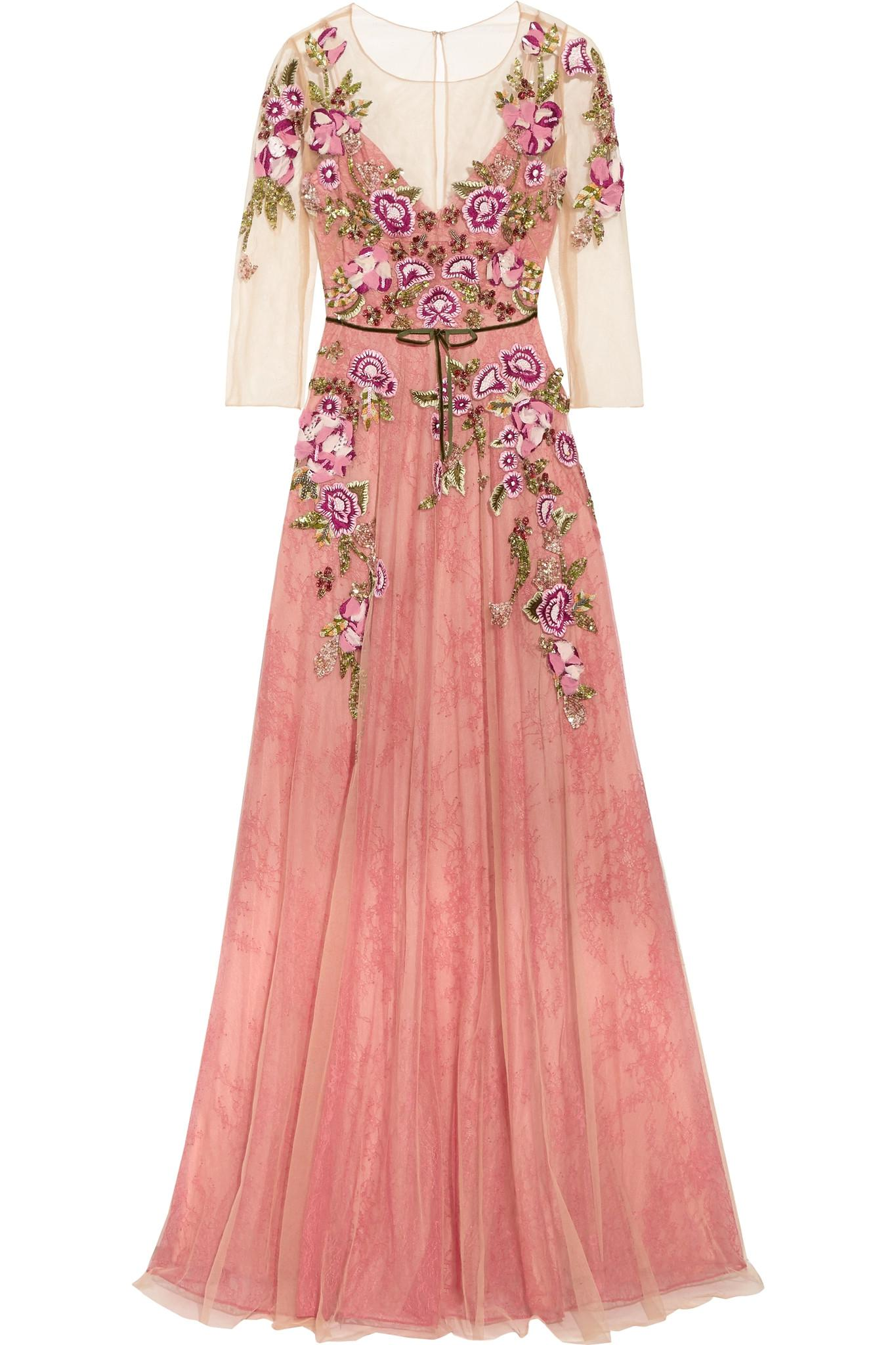 Lyst Notte By Marchesa Embroidered Tulle Gown In Pink