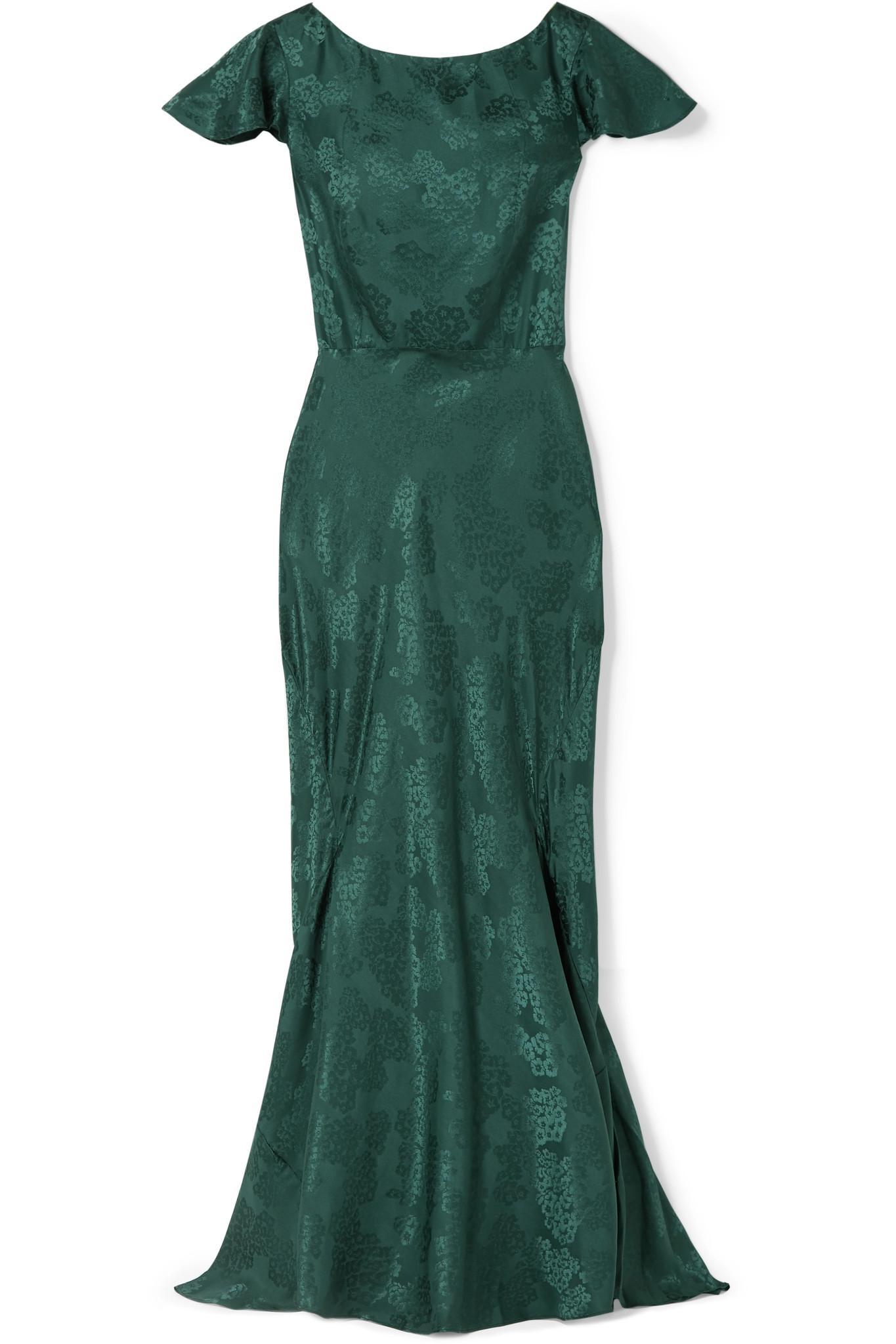 f19128fef8151c Saloni Daphne Silk-jacquard Maxi Dress in Green - Lyst