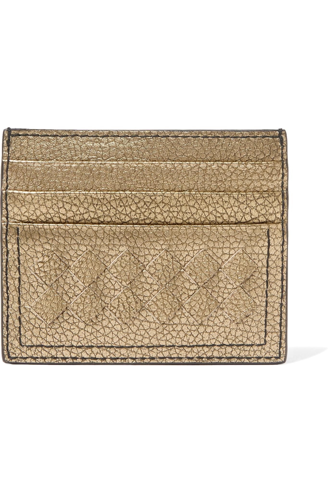 cdcb6b169 Bottega Veneta Metallic Intrecciato Textured-leather Cardholder in ...