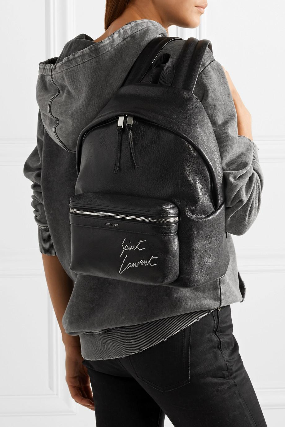 5a5883bf2 Mini Toy City Embroidered Backpack In Black Leather- Fenix Toulouse ...