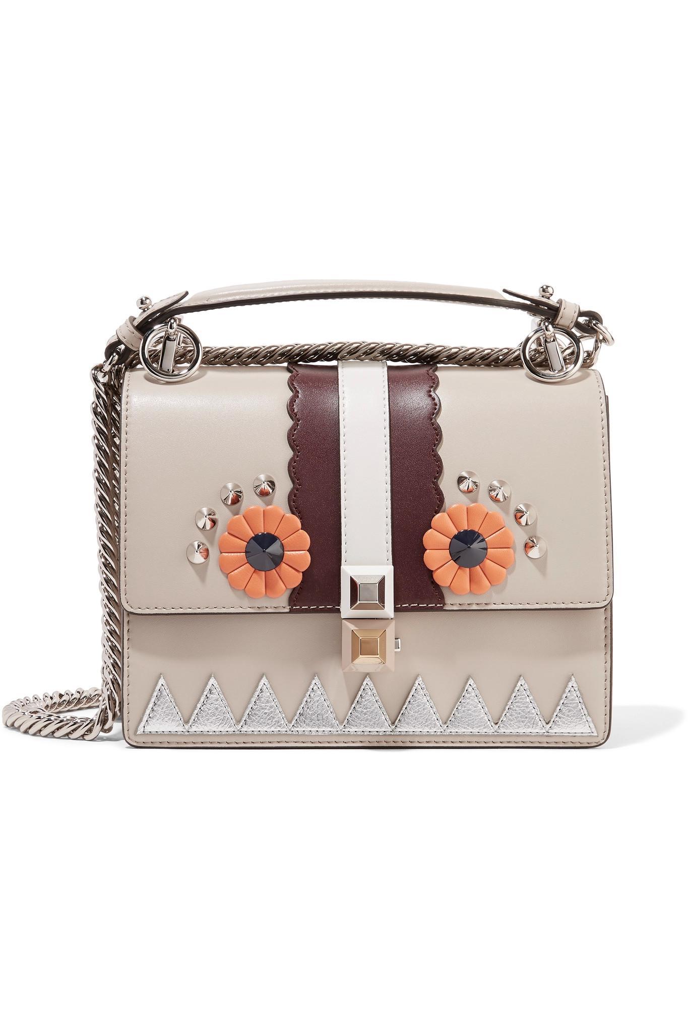 Fendi Kan I Mini Embellished Leather Shoulder Bag - Lyst 098f920686fd4
