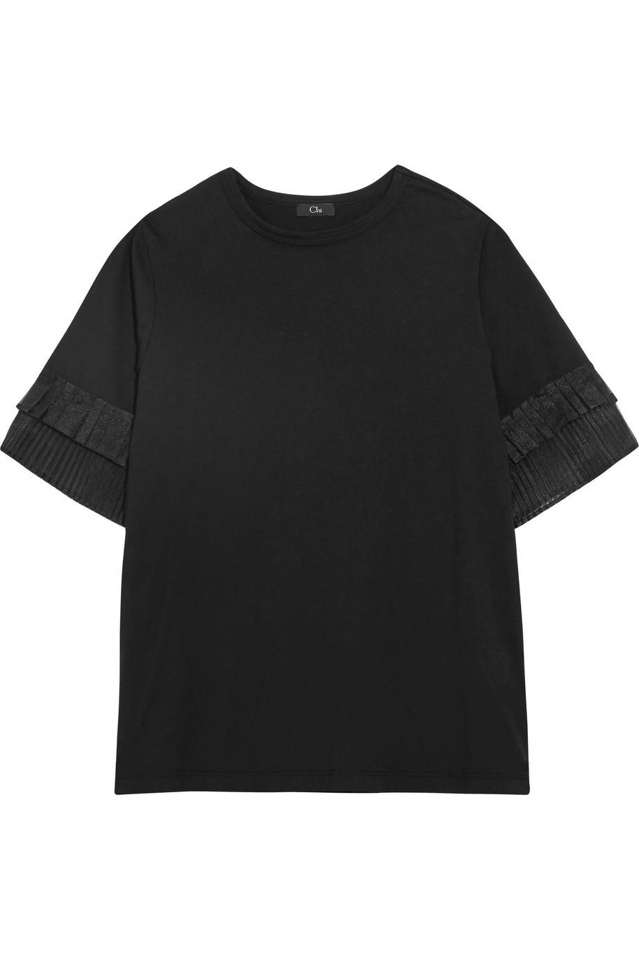 Pleated Organza-trimmed Silk-jersey T-shirt - Off-white Clu 2018 Online 2018 Unisex Cheap Online Shop Offer For Sale Cheap Newest dnllVzg3