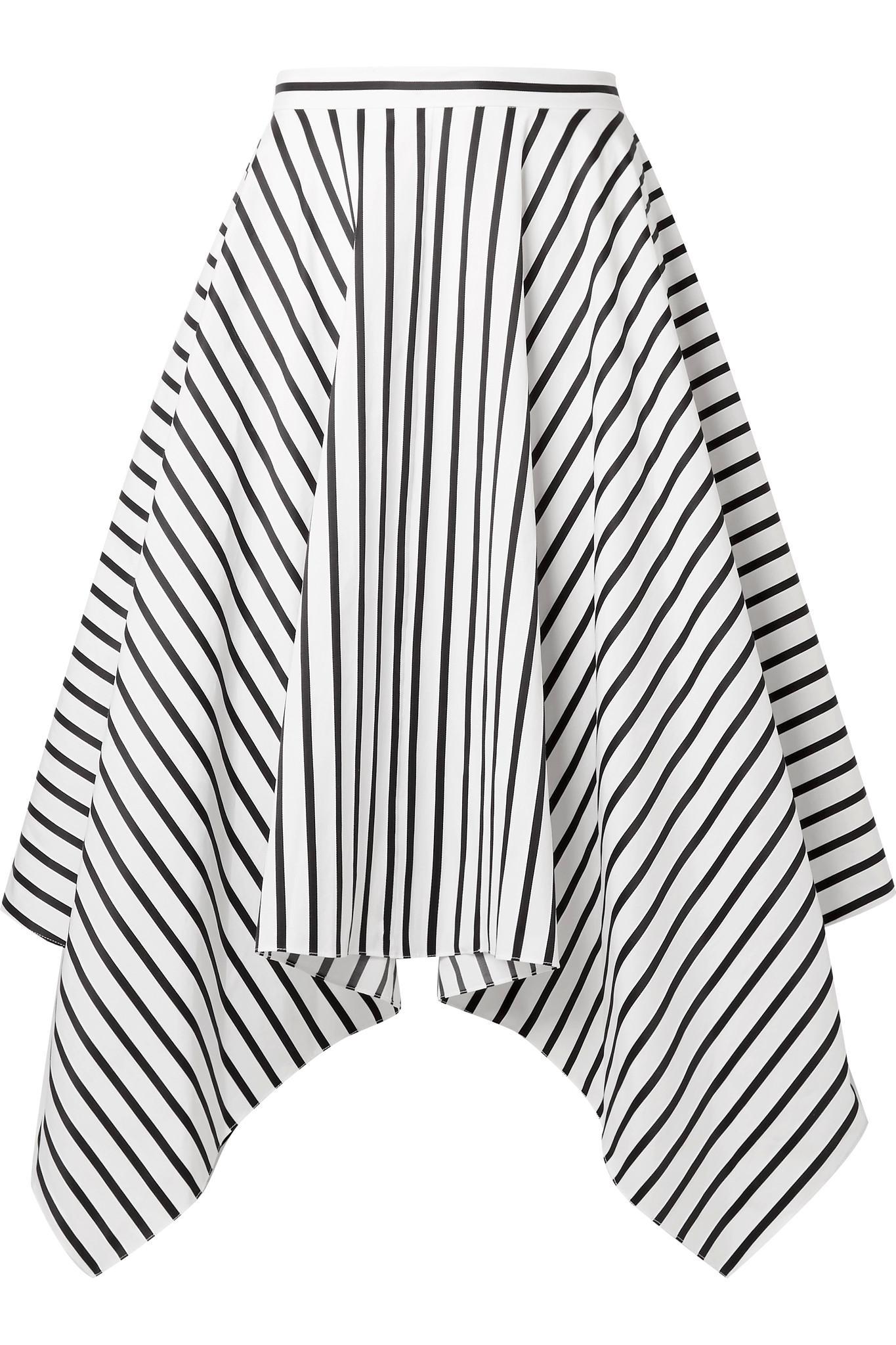 Asymmetric Striped Cotton-poplin Midi Skirt - White Adam Lippes Free Shipping Cheap Price niX7A
