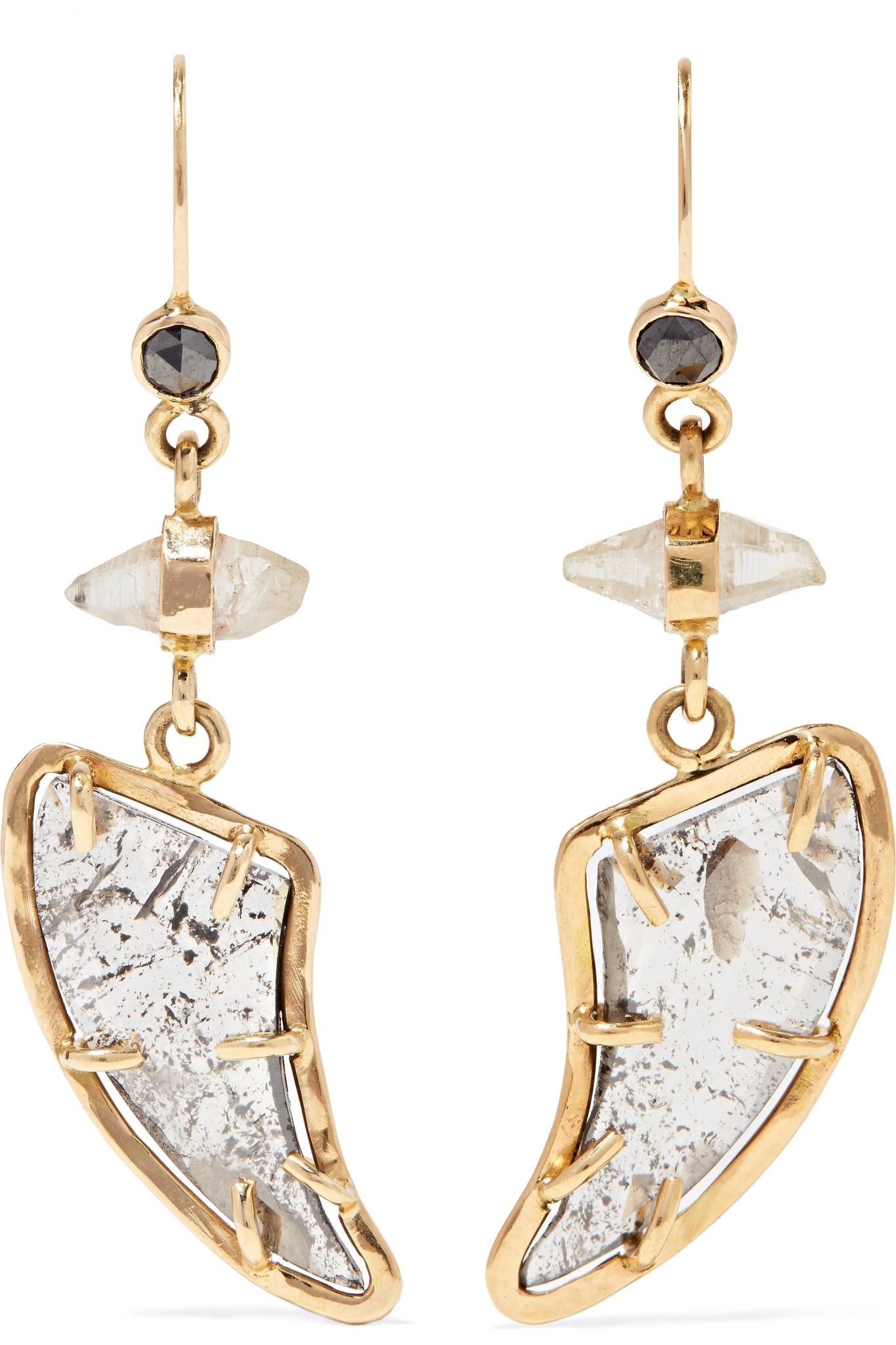 Melissa Joy Manning 18-karat Gold, Diamond And Sapphire Earrings