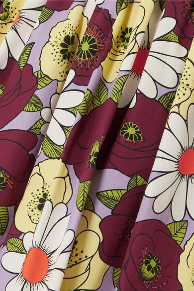 Jupe En Popeline De Coton À Imprimé Fleuri Et À Ceinture Coton Prada en coloris Violet