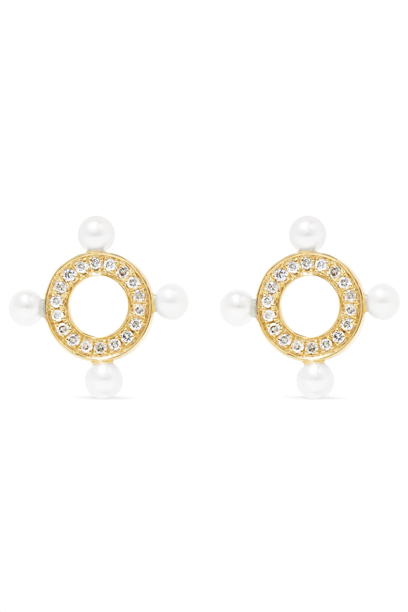 Cheap 100% Original Quatuor Mono Earring in 14K Yellow Gold and Diamonds Anissa Kermiche Marketable For Sale Recommend Outlet Perfect Buy Cheap Recommend ELOVNRqG