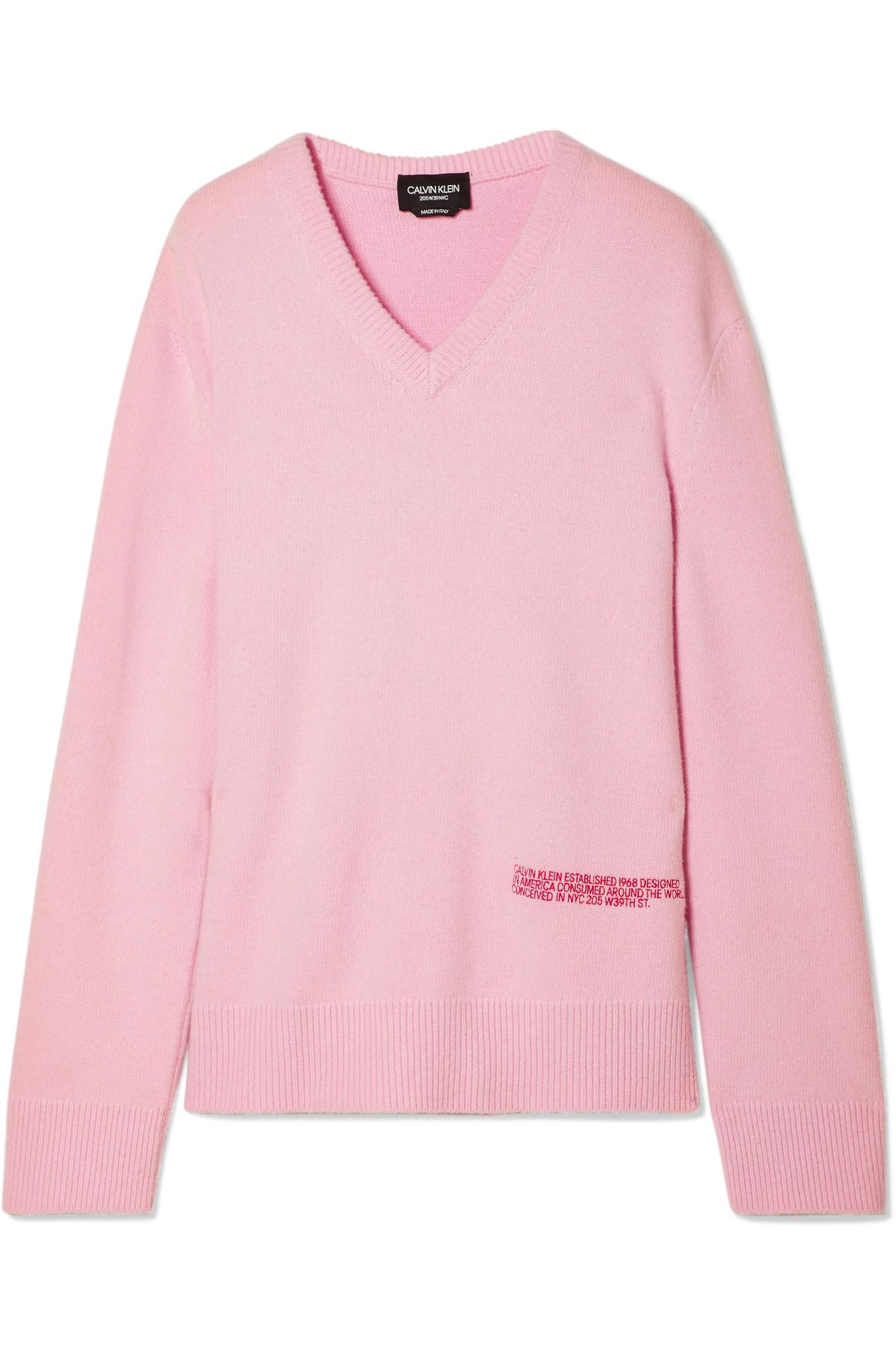 ad57f12055ef CALVIN KLEIN 205W39NYC. Women s Pink Embroidered Wool And Cotton-blend  Sweater