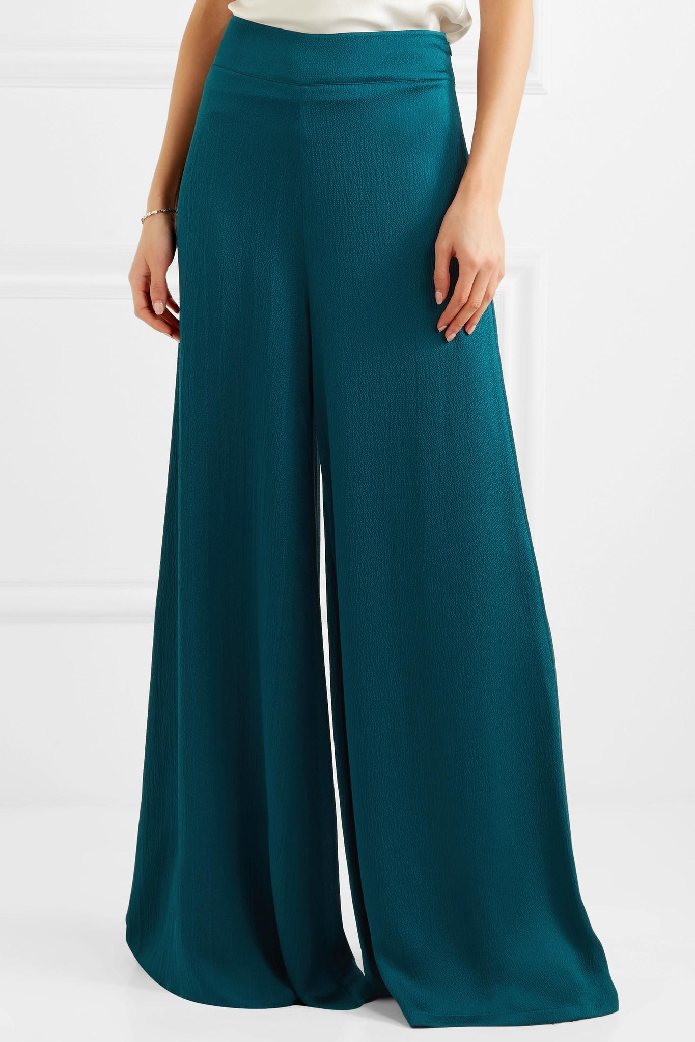 Cheap 100% Guaranteed Best Seller Nara Hammered Silk-satin Wide-leg Pants - Emerald SAFiYAA Sale Best Prices RxbV6jl90