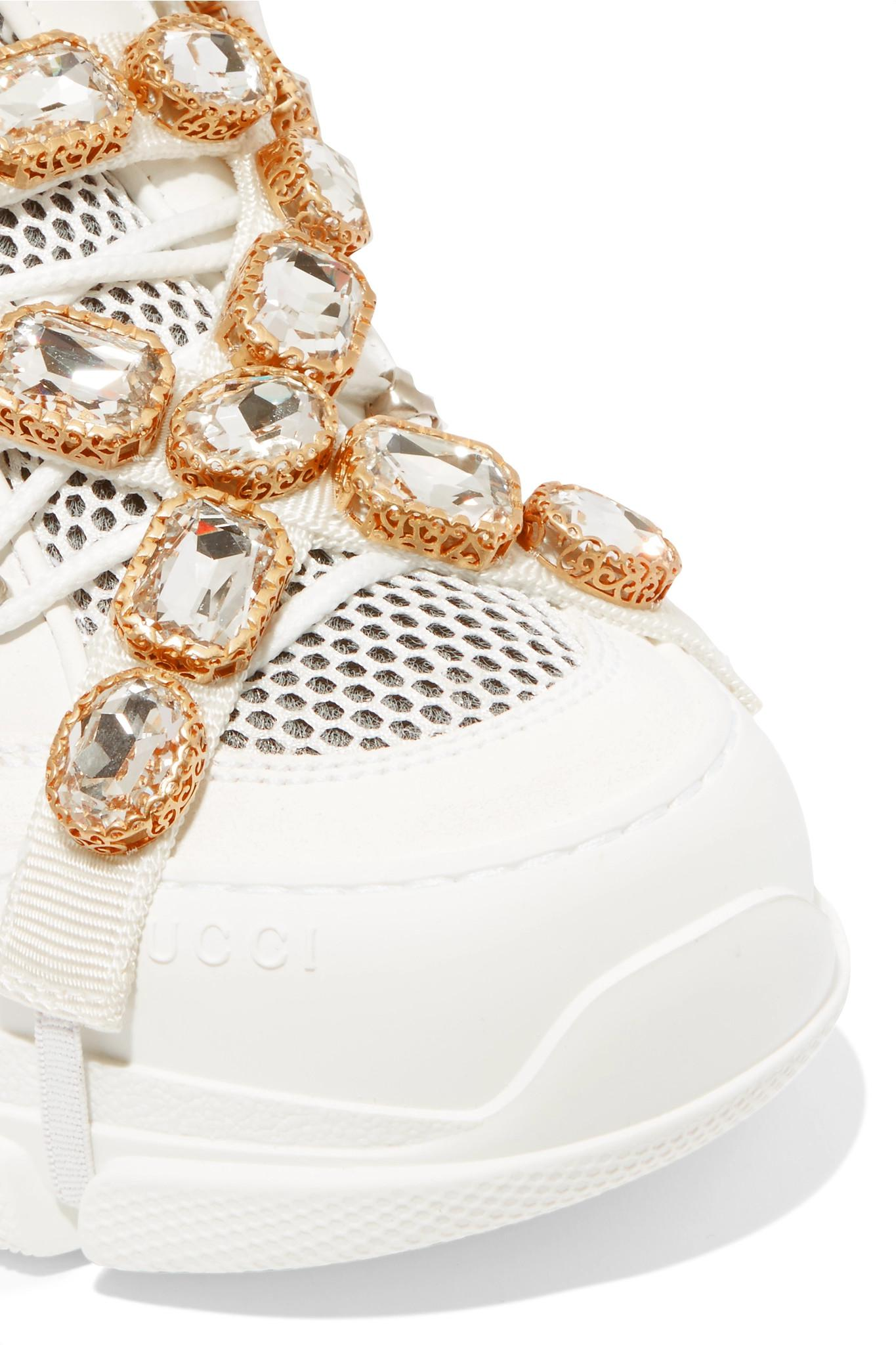b695efe4c7e Gucci Flashtrek Sneakers With Removable Crystals in White - Save 42 ...