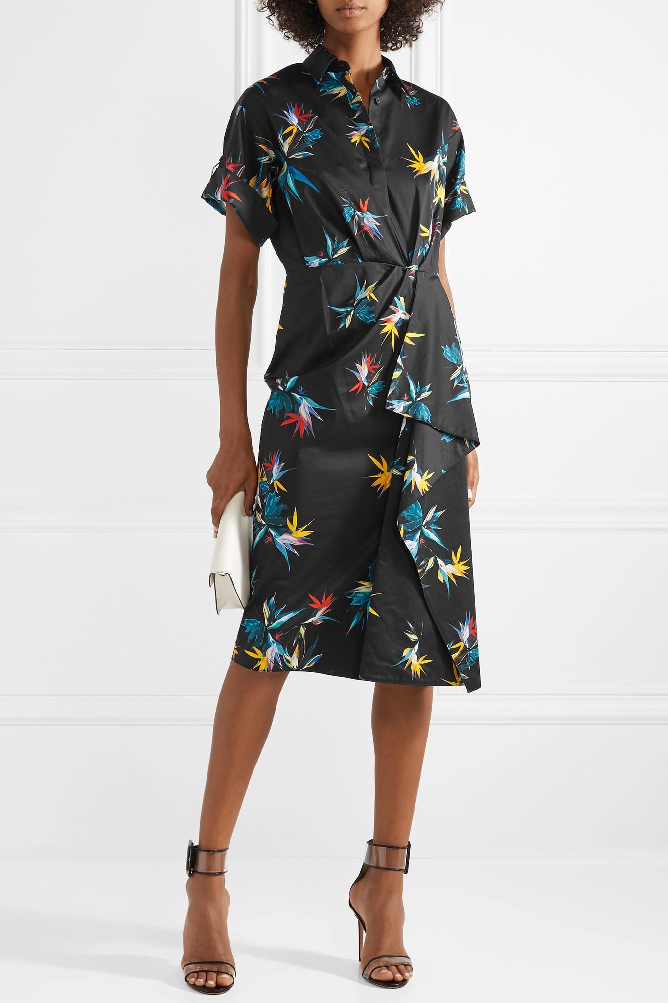 Wrap-effect Printed Cotton-poplin Dress - Black Jason Wu Q7cluxHy3