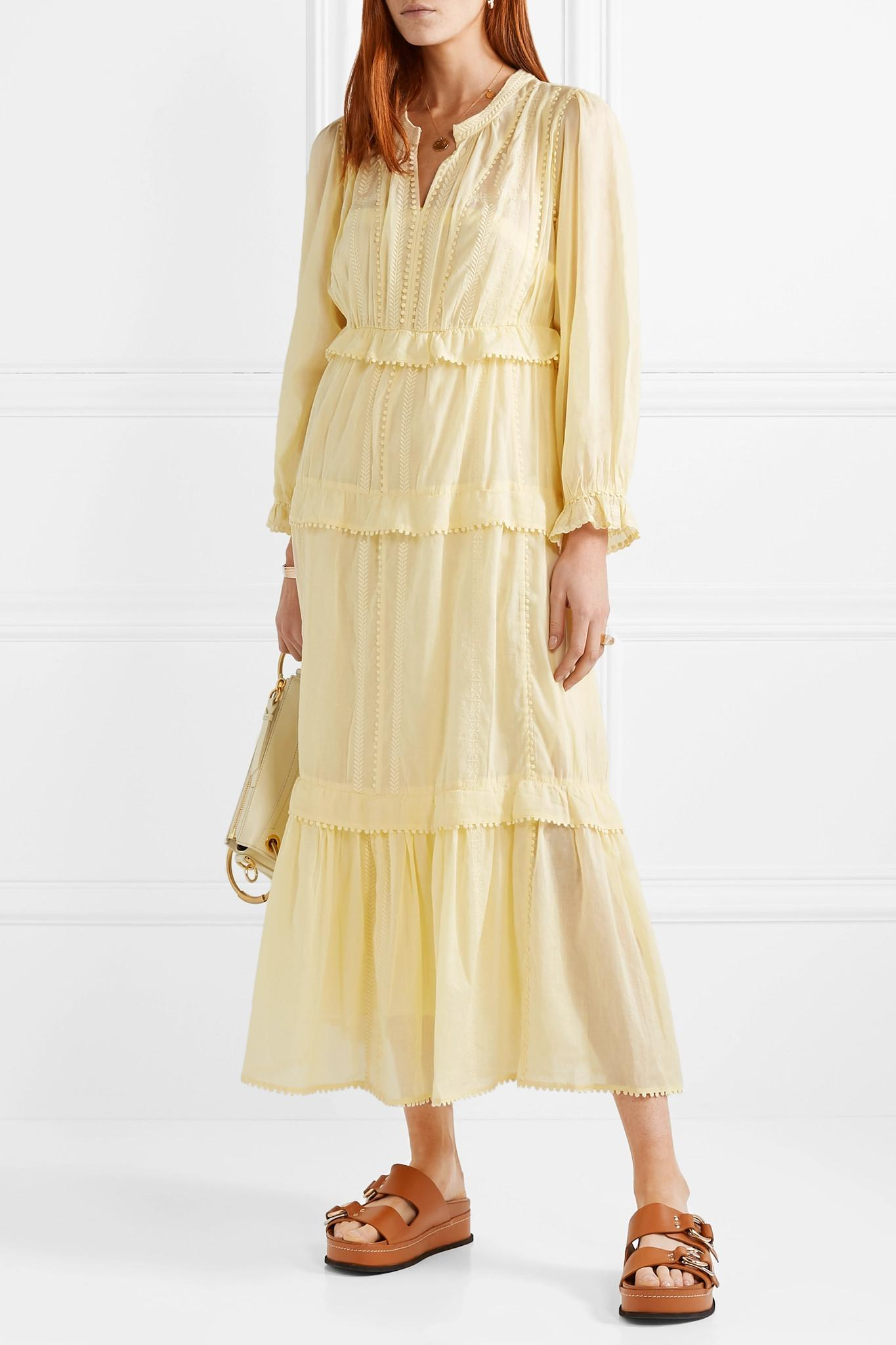 50ede246b2 Lyst - Étoile Isabel Marant Aboni Yellow Embroidered Cotton Dress in ...