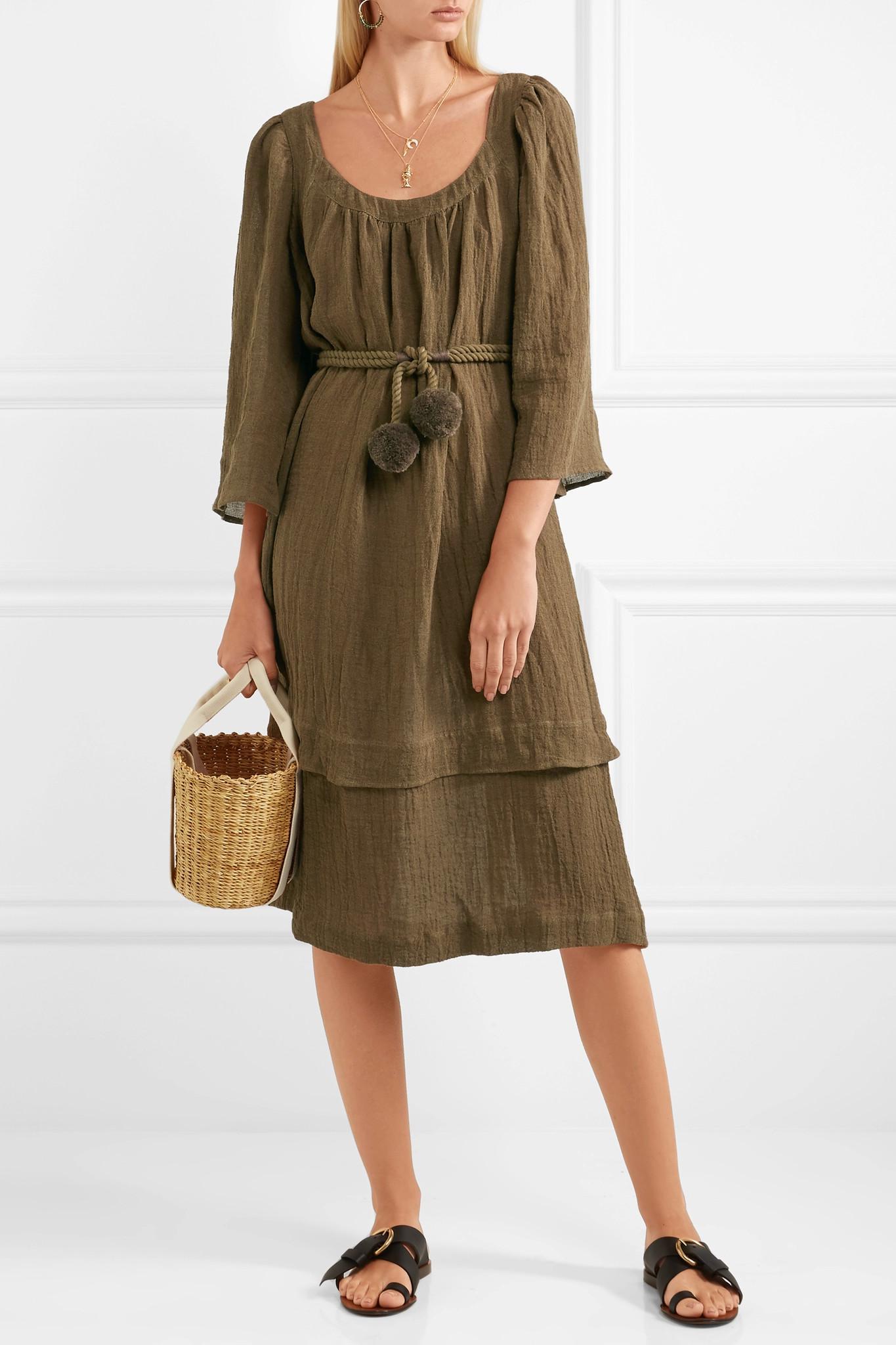 Ilara Pompom-embellished Linen-blend Dress - Army green Three Graces London DJ9rGw