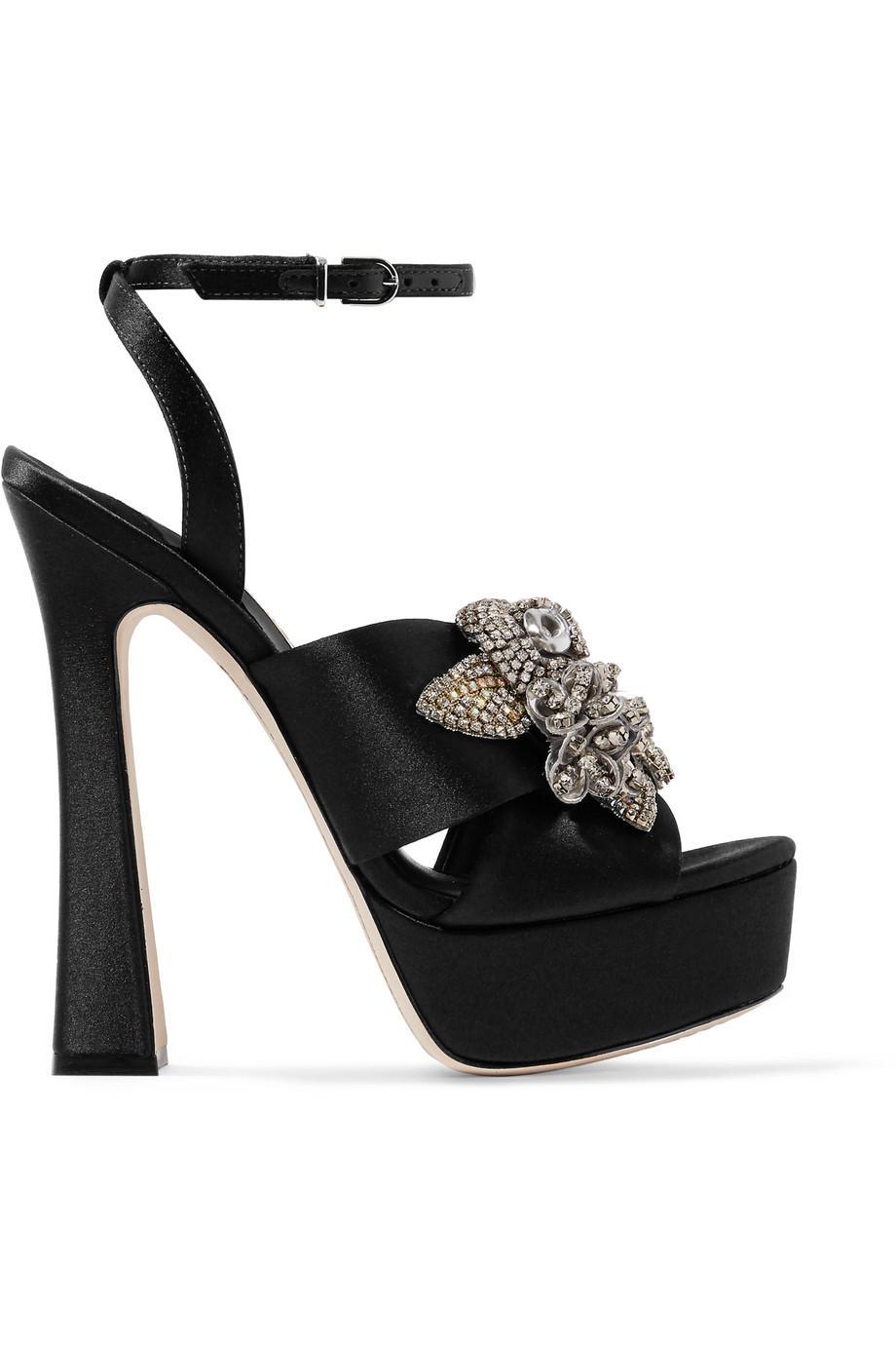 5dd058c42e8 Sophia Webster Lilico Crystal-embellished Satin Platform Sandals Black