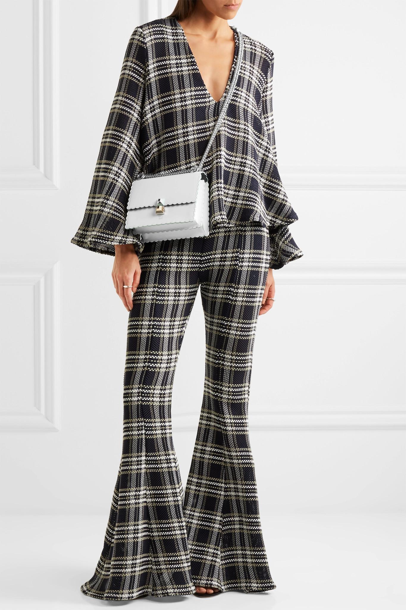 a97dc386a82e Lyst - Fendi Kan I Mini Leather Shoulder Bag in White
