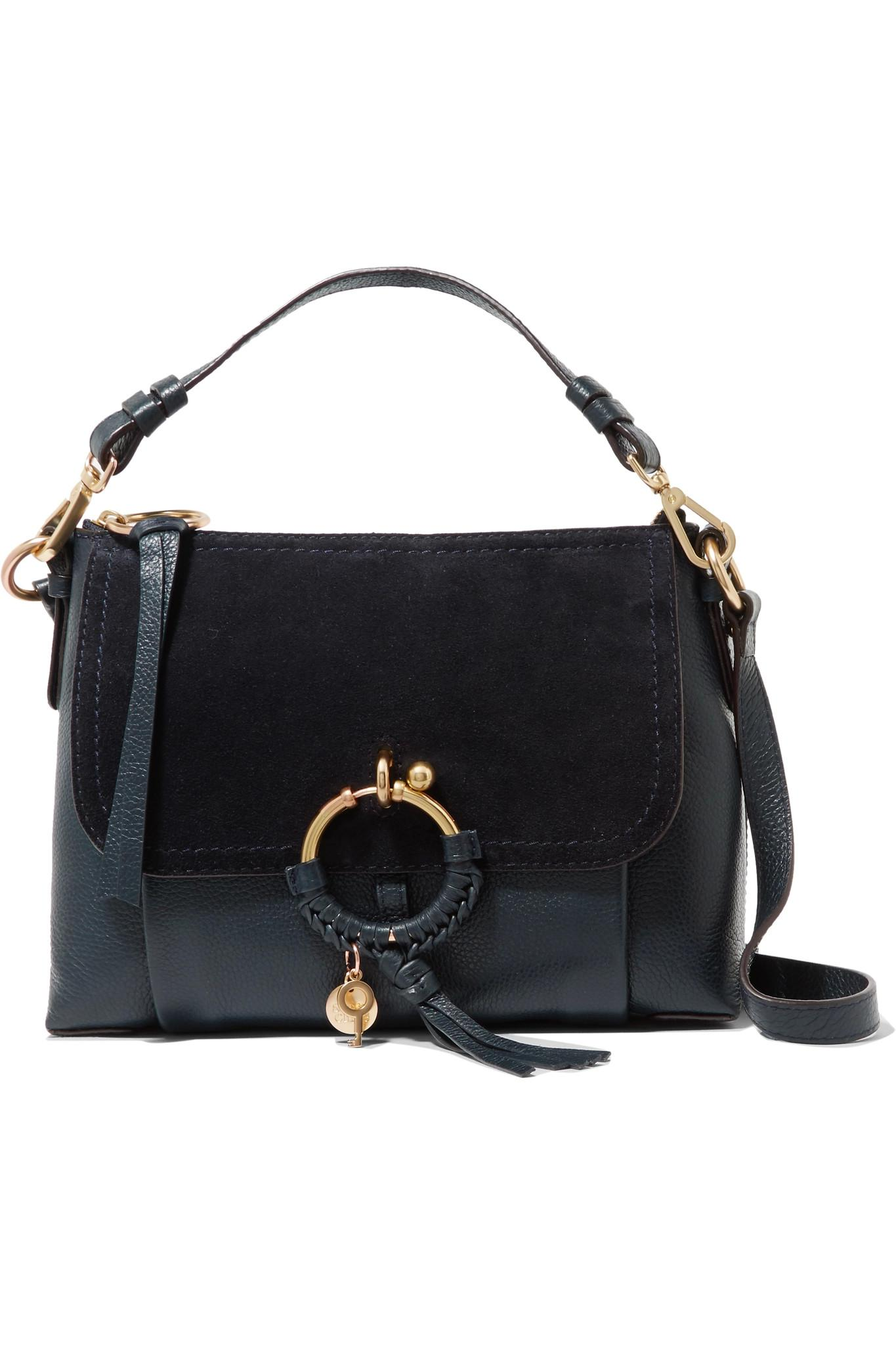 Joan Small Whipstitched Suede-paneled Textured-leather Shoulder Bag - Gray See By Chlo MgO3qiy
