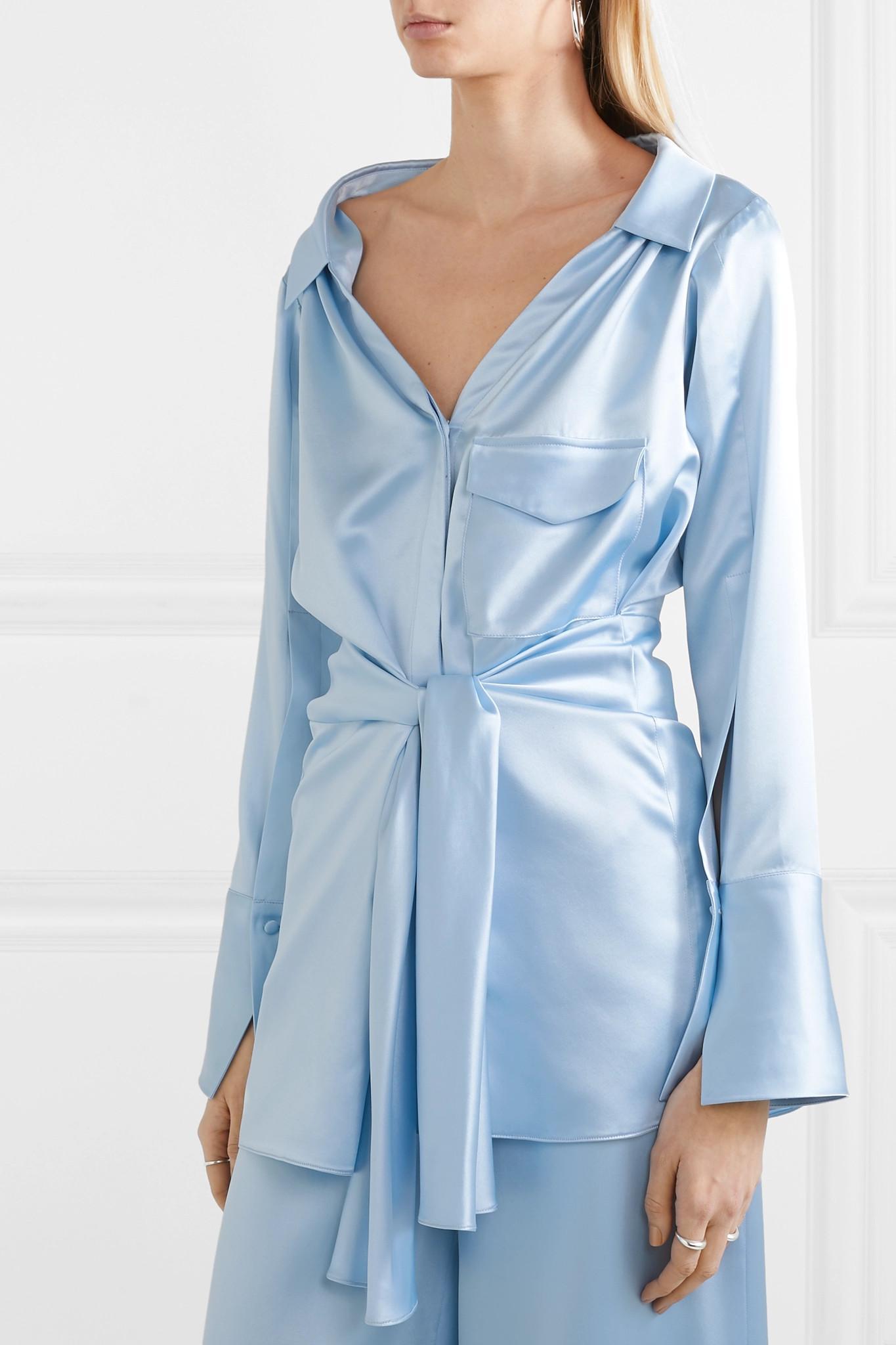 ce48c8334e8fa7 Hellessy - Blue Clark Belted Silk-satin Shirt - Lyst. View fullscreen