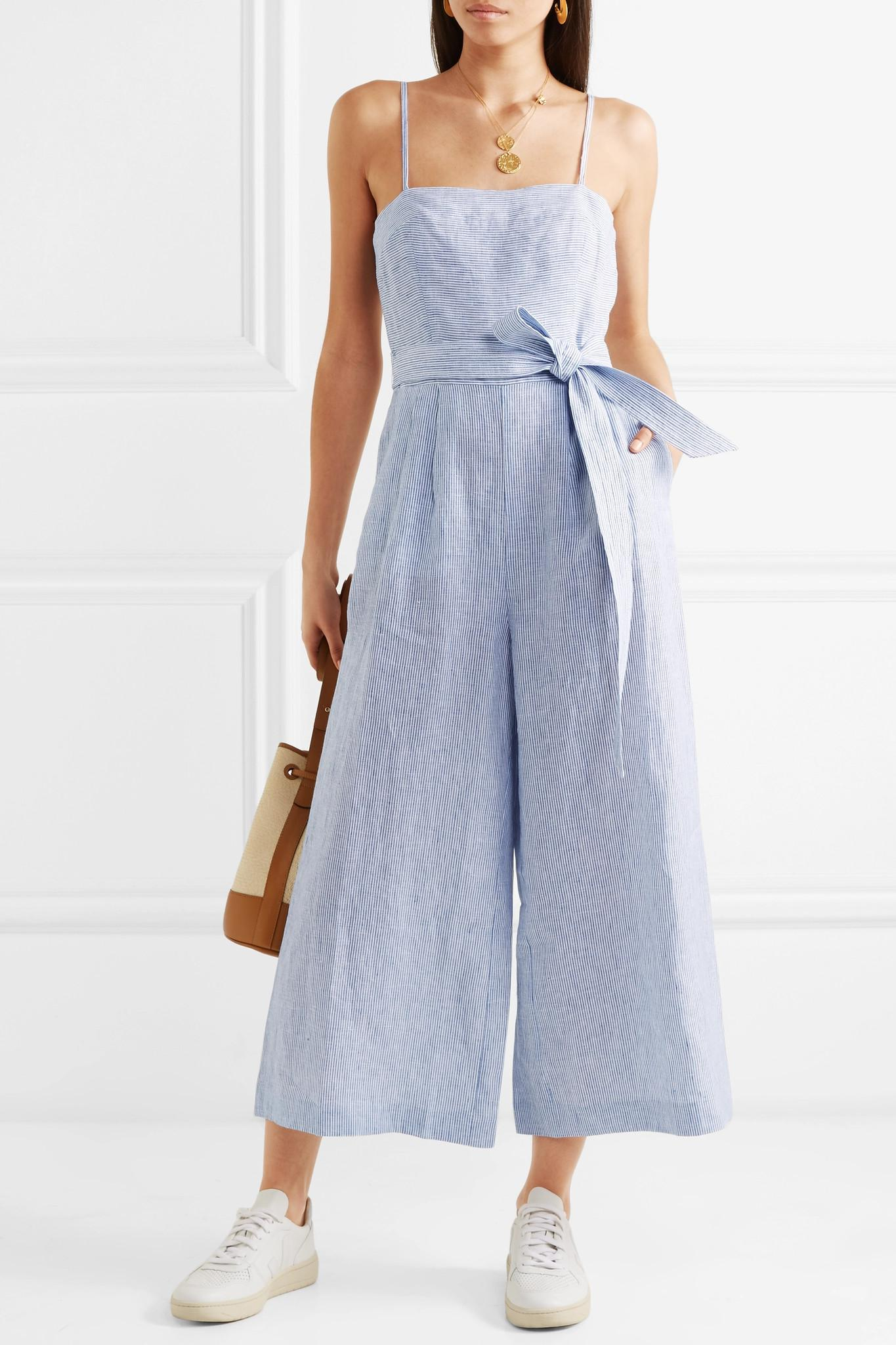 9c70139bc68 Lyst - J.Crew Marseille Belted Striped Linen Jumpsuit in Blue