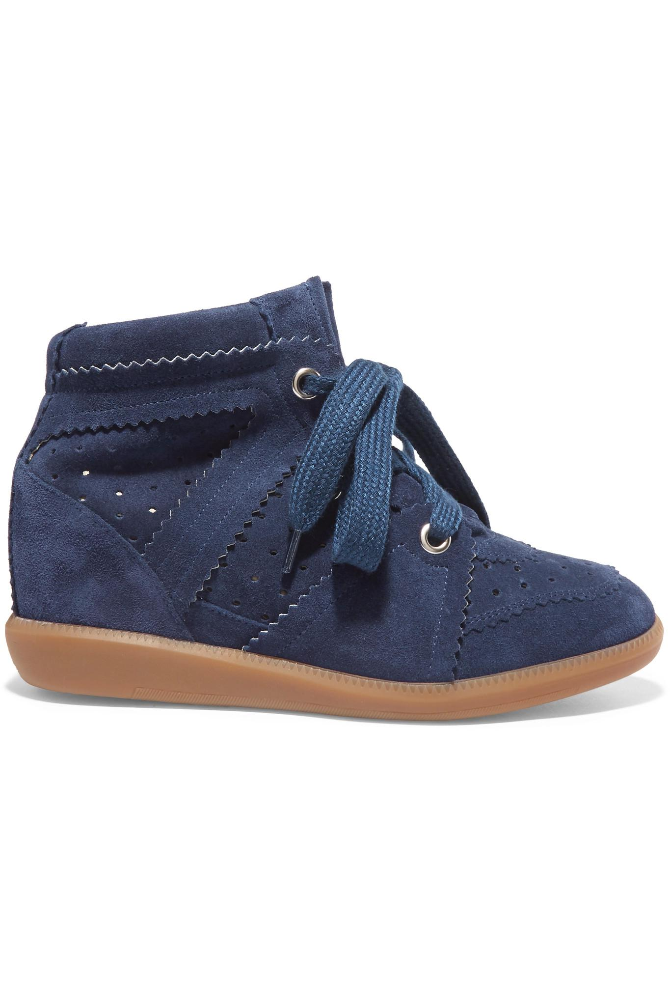 lyst isabel marant toile bobby suede wedge sneakers in blue. Black Bedroom Furniture Sets. Home Design Ideas