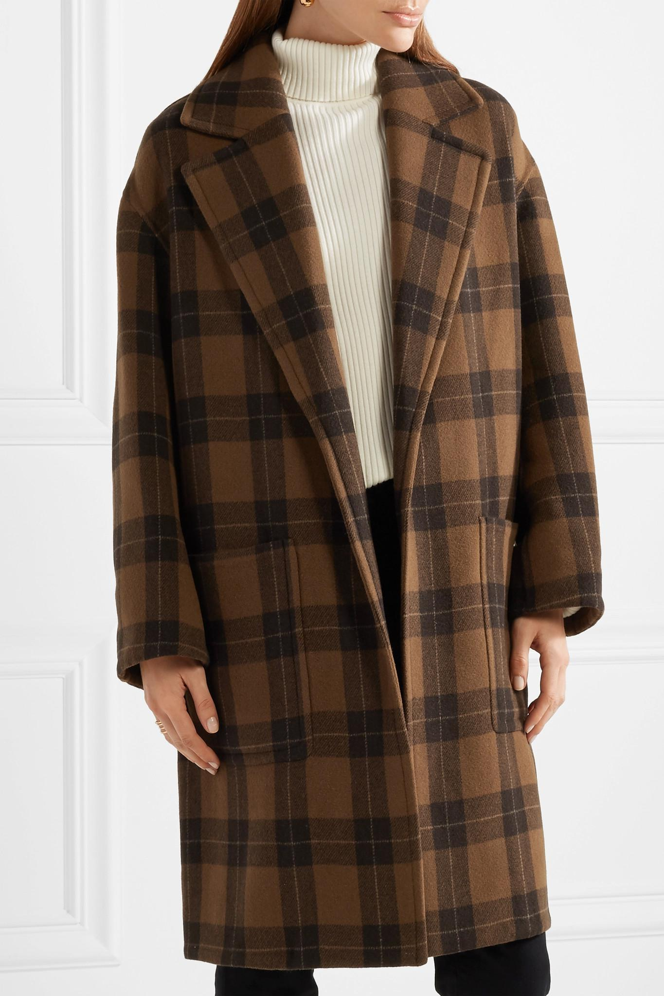 0f38b1f2fdf Vince Brown Checked Wool-blend Coat