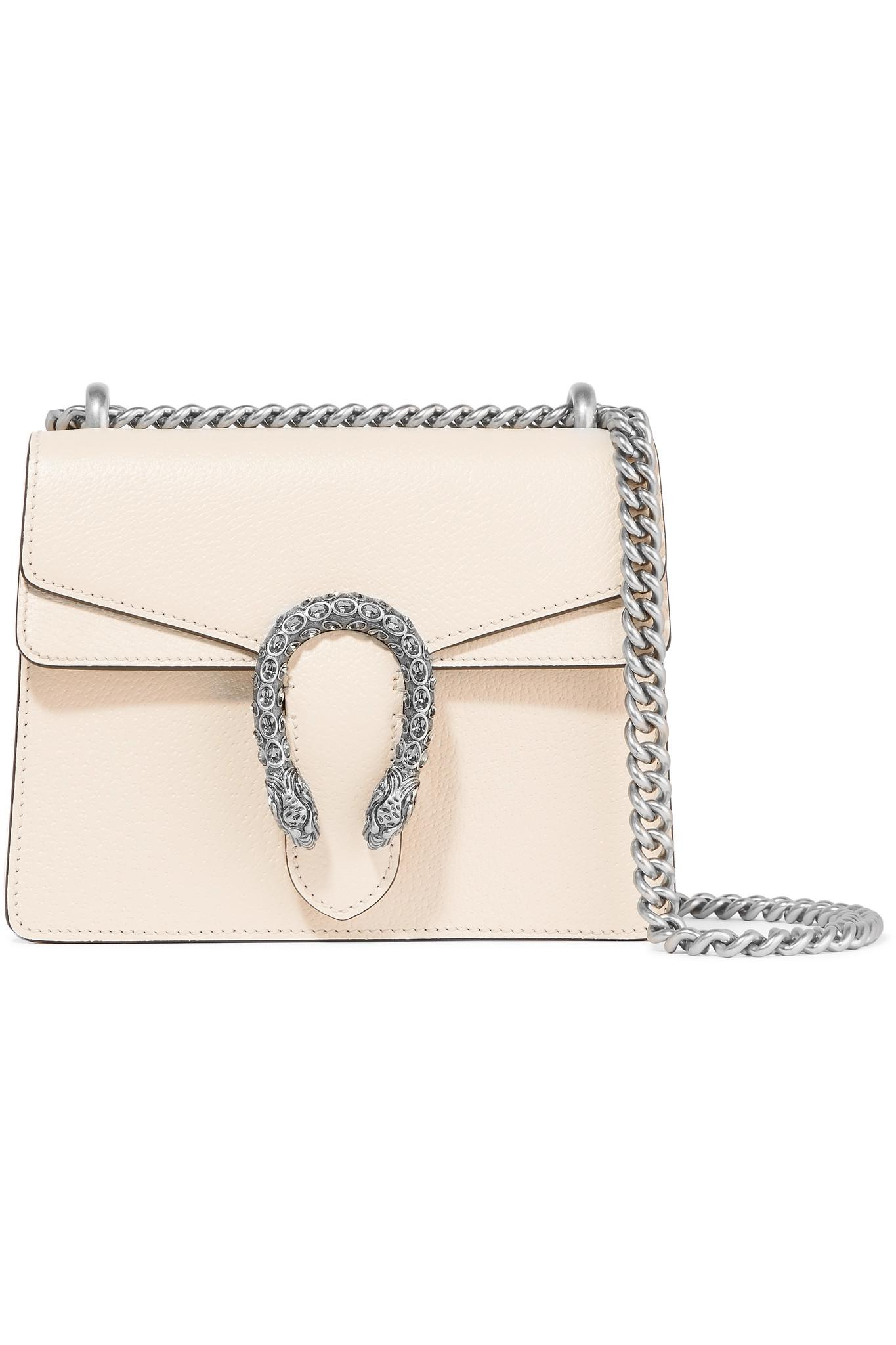 9fde22370a9 Gucci Dionysus Mini Textured-leather Shoulder Bag in White - Lyst