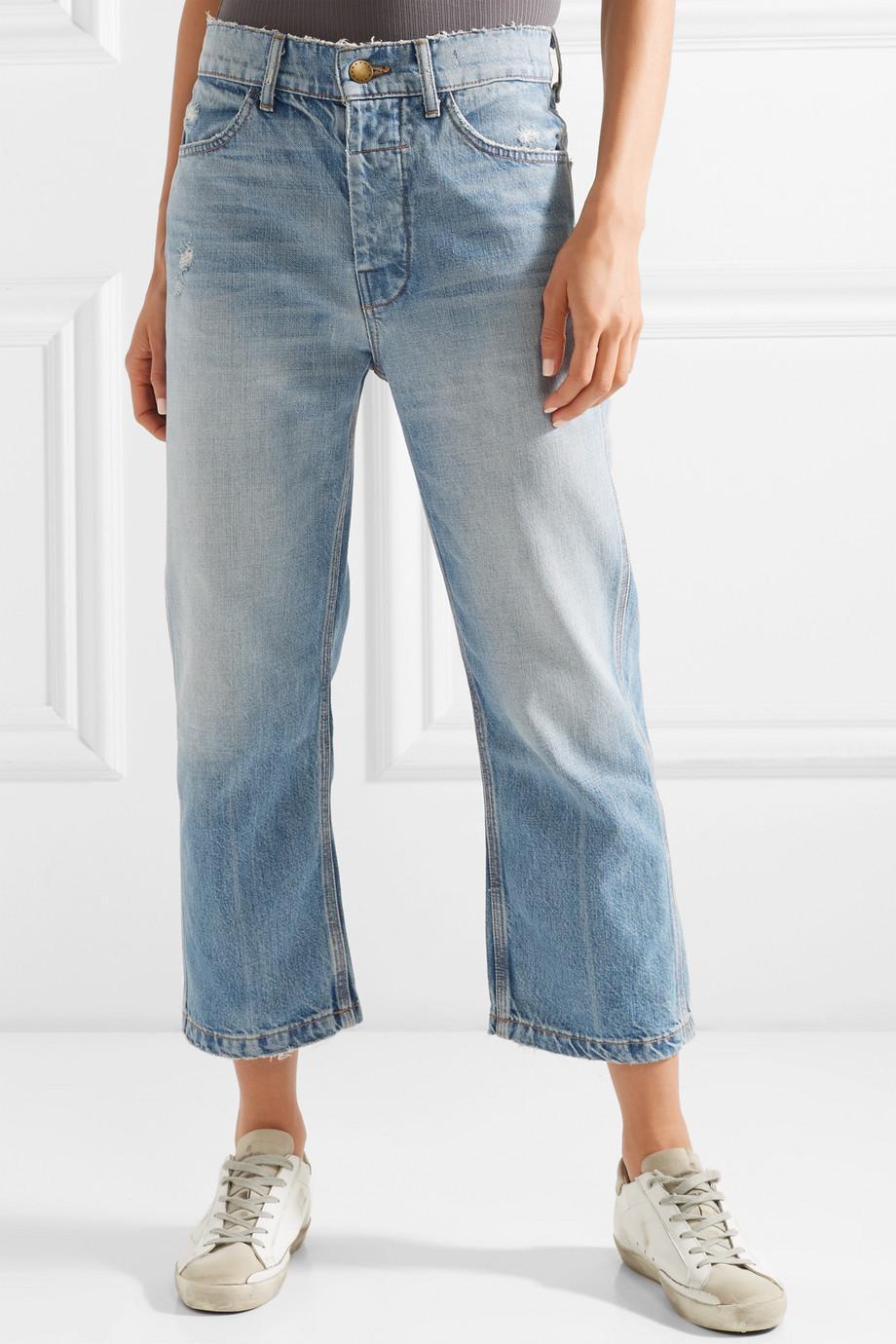 The Railroad Cropped Distressed Boyfriend Jeans - Mid denim The Great. eS81MkV
