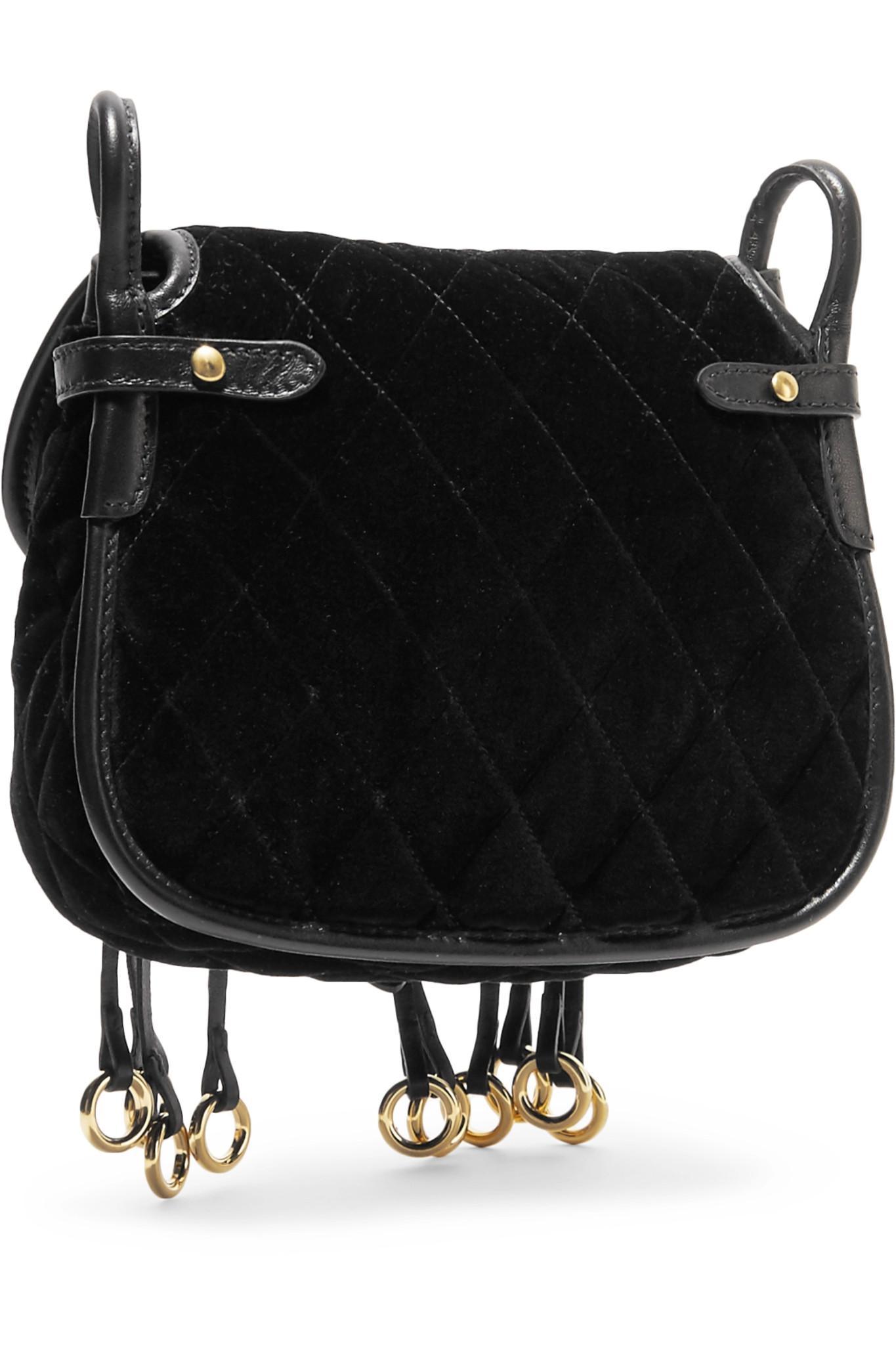 63fe0aa87d0e Lyst - Prada Messenger Leather-trimmed Quilted Velvet Shoulder Bag ...