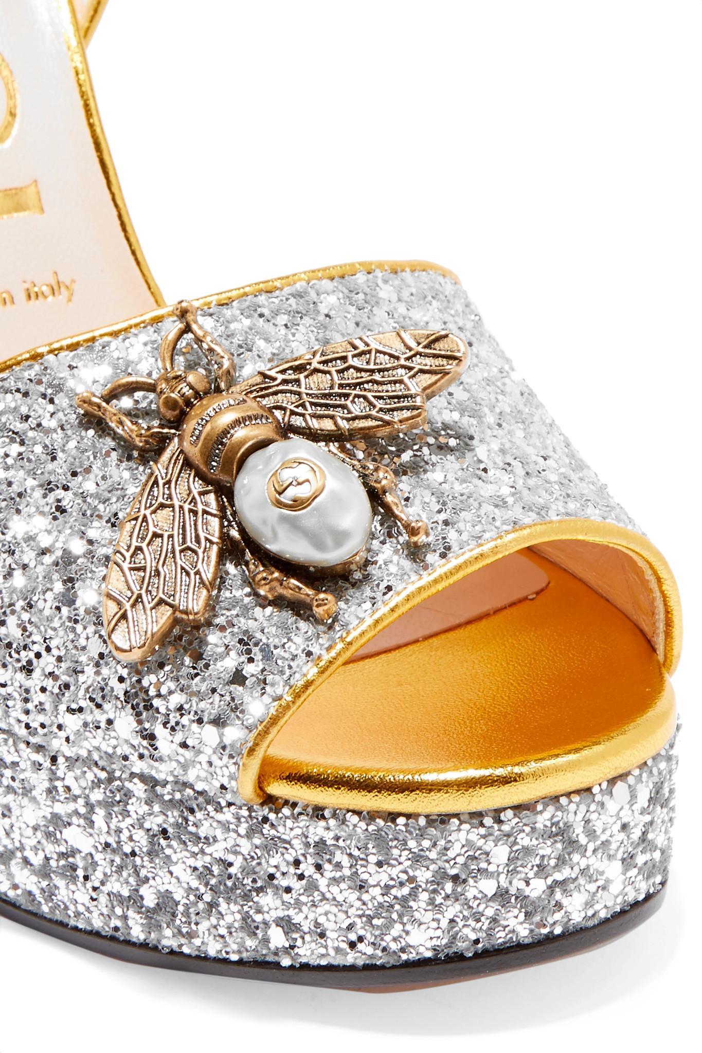 3e03256c8 Gucci Embellished Glittered Leather Platform Sandals in Metallic - Lyst