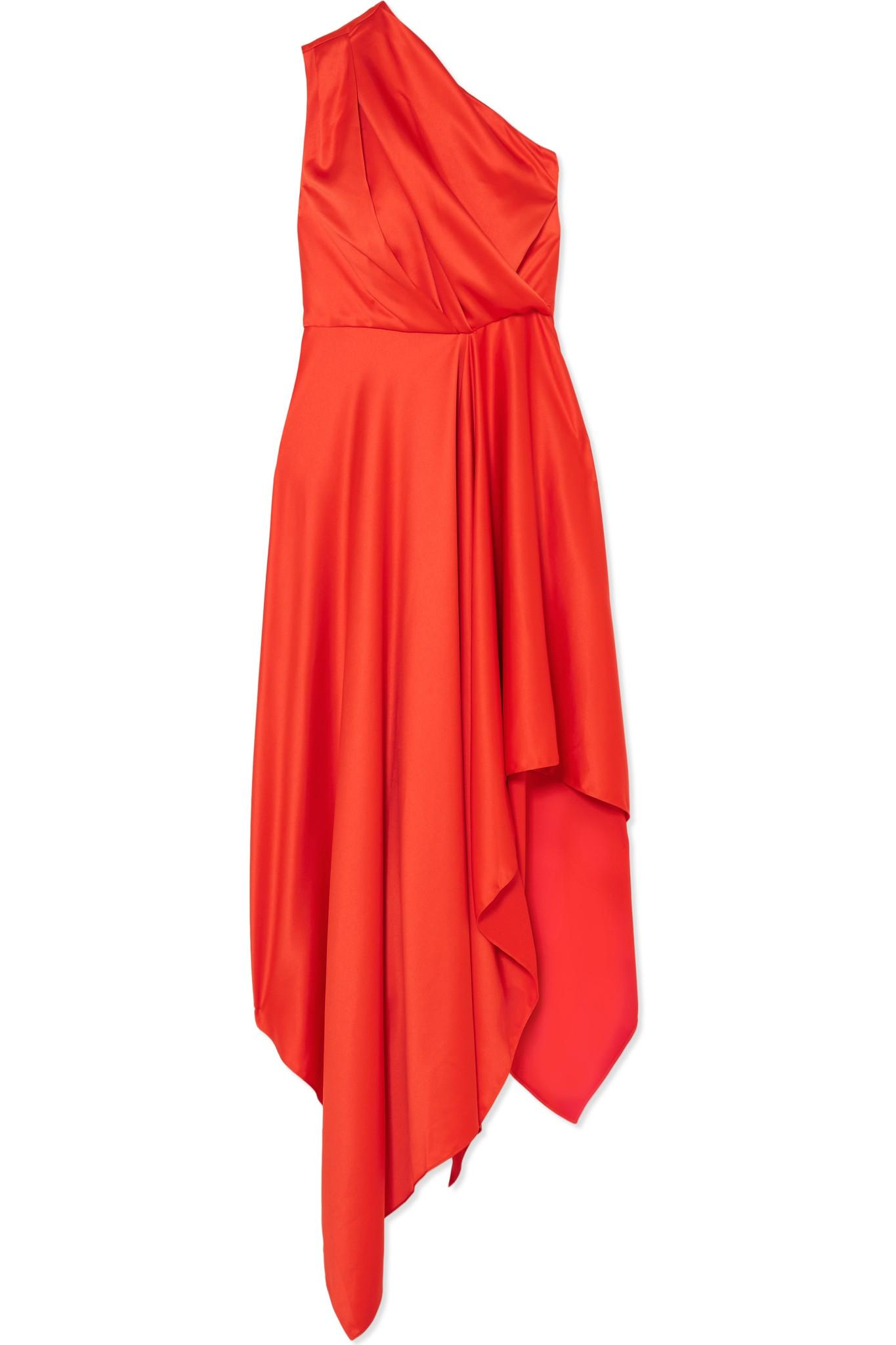 Recommend Marine One-shoulder Satin Maxi Dress - Red Solace London Clearance 2018 New k592X0
