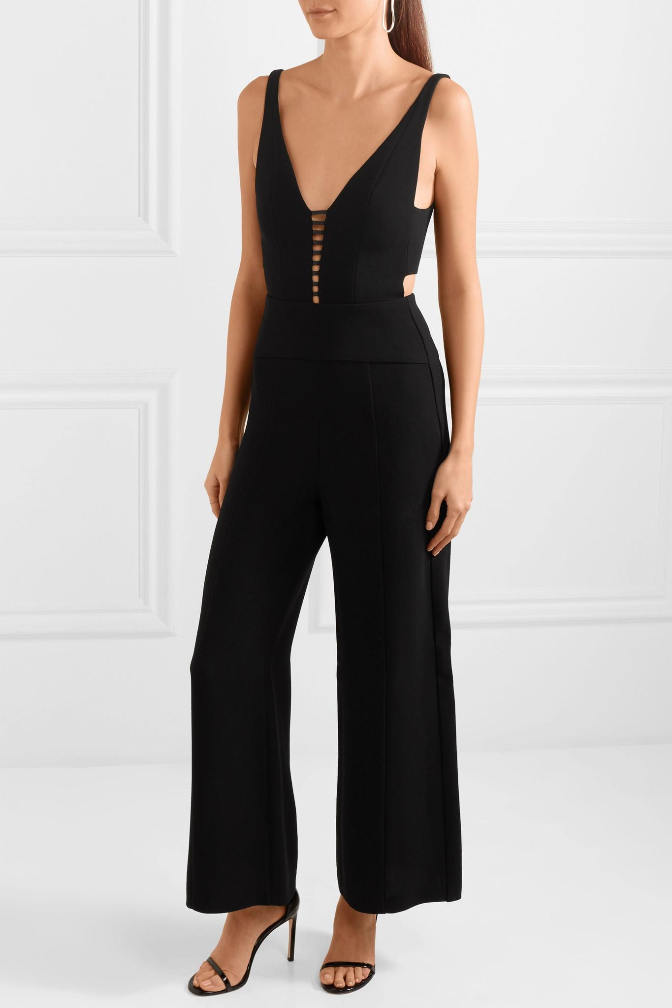 0a32242b1342 Lyst - Narciso Rodriguez Leather-trimmed Cutout Wool-crepe Jumpsuit ...