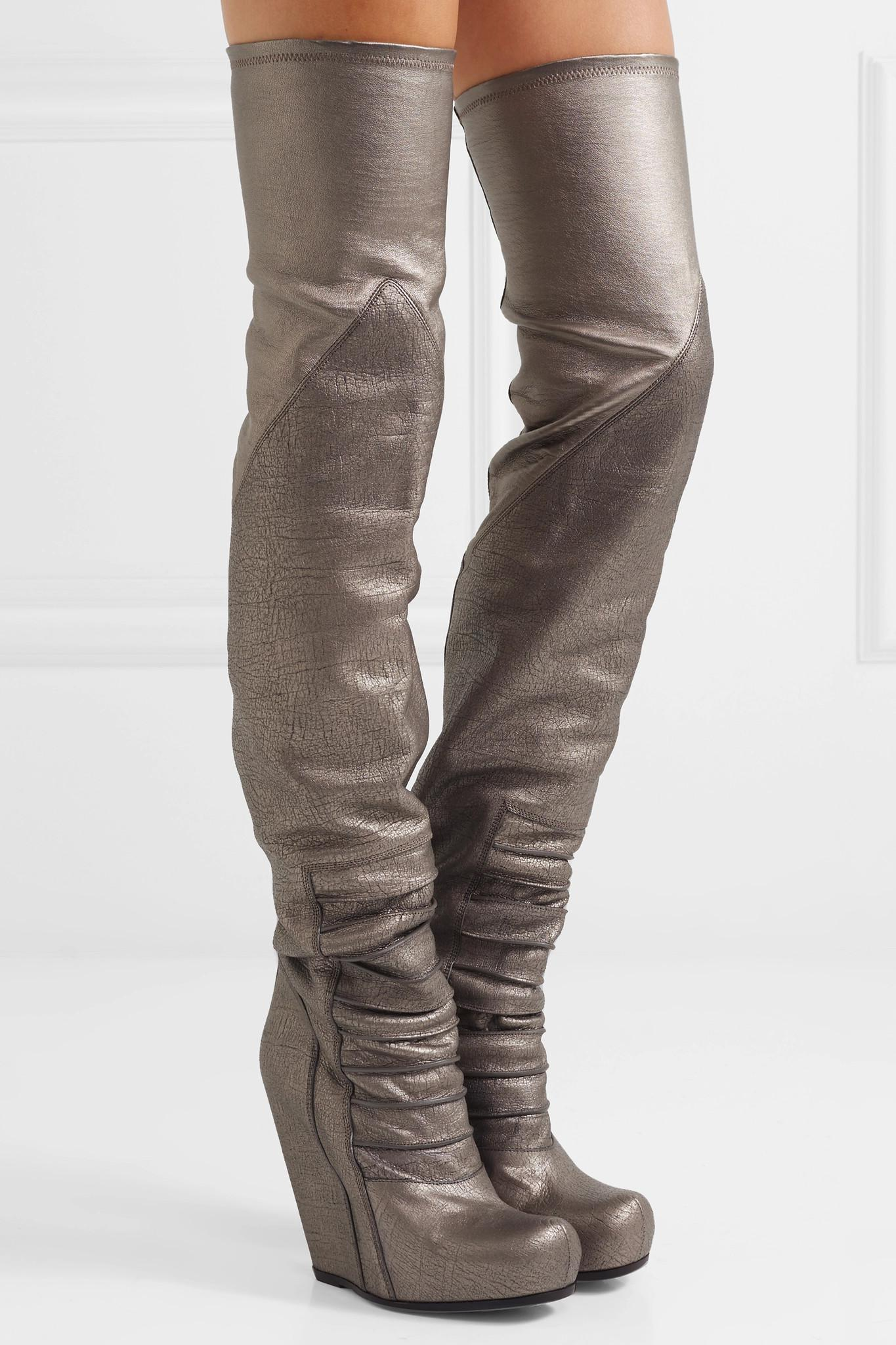 bd0edeacbc26 Rick Owens - Metallic Textured-leather Over-the-knee Wedge Boots - Lyst.  View fullscreen