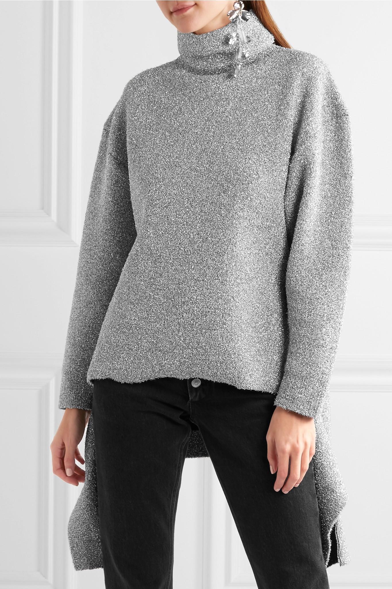 78fa1e609d Balenciaga Oversized Metallic Knitted Turtleneck Sweater in Gray - Lyst