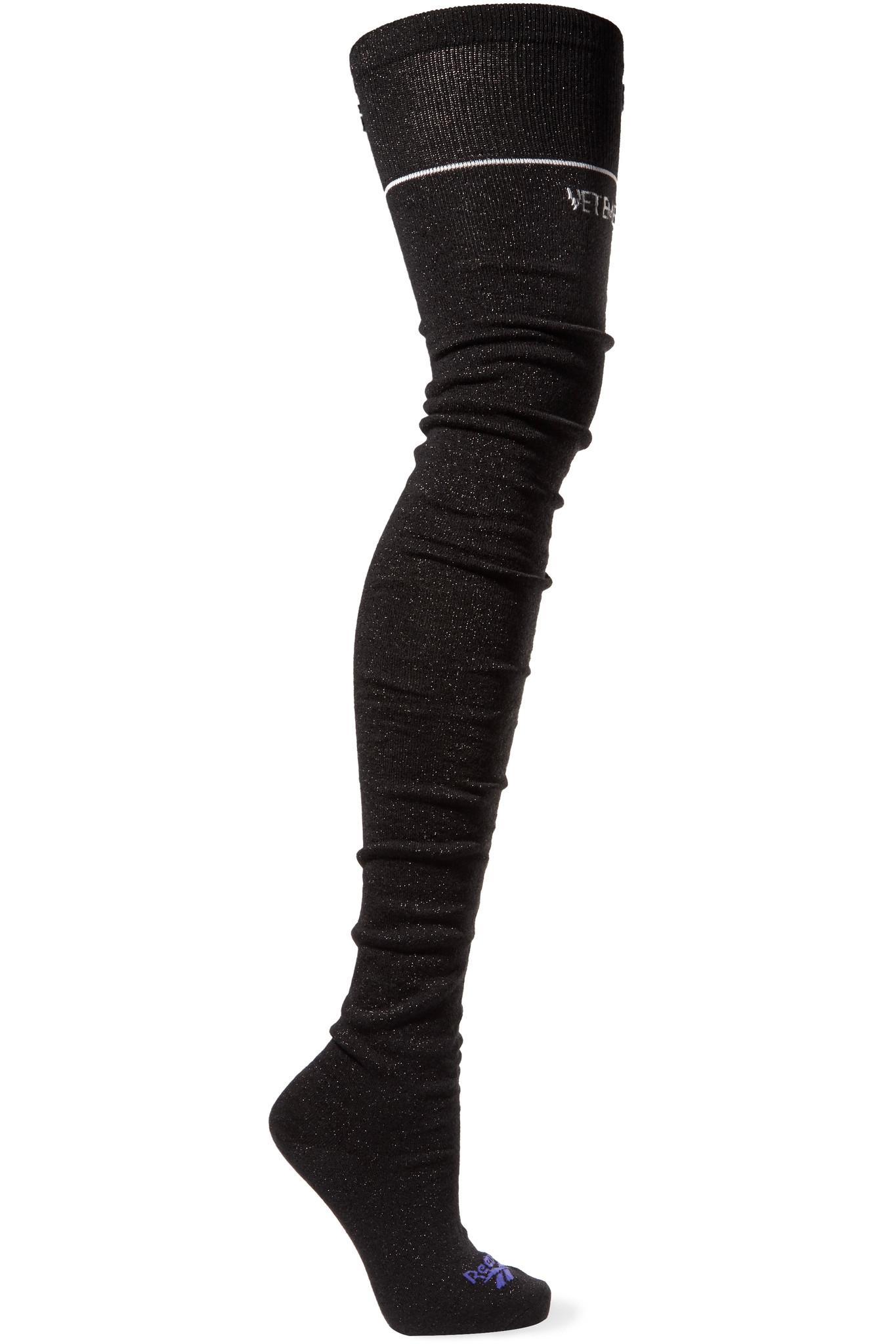 d4068b784 Vetements Intarsia-knit Knee-high Socks in Black - Lyst