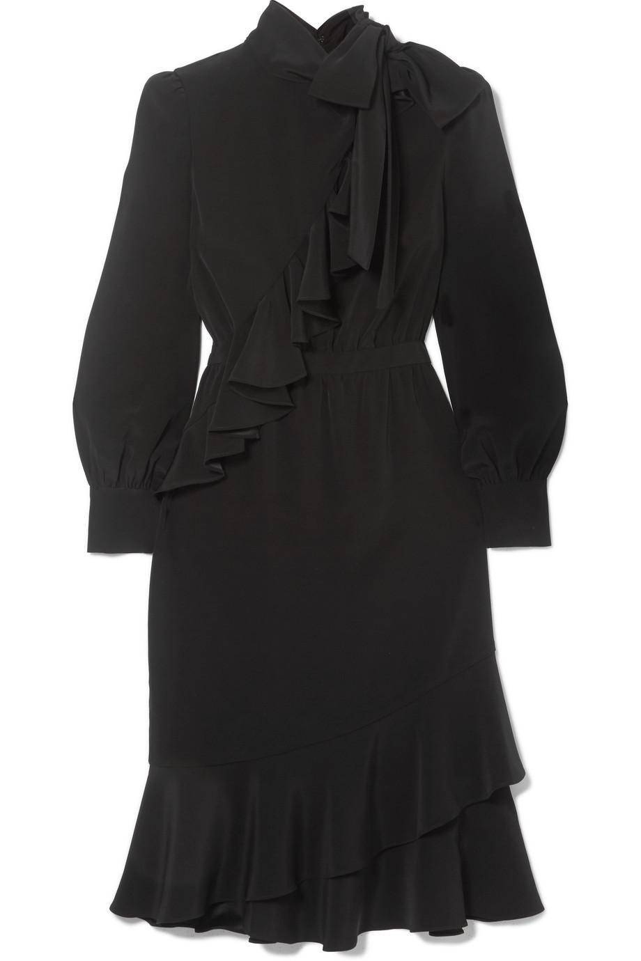 Ruffled Crepe Midi Dress - Black Co CJhWULq