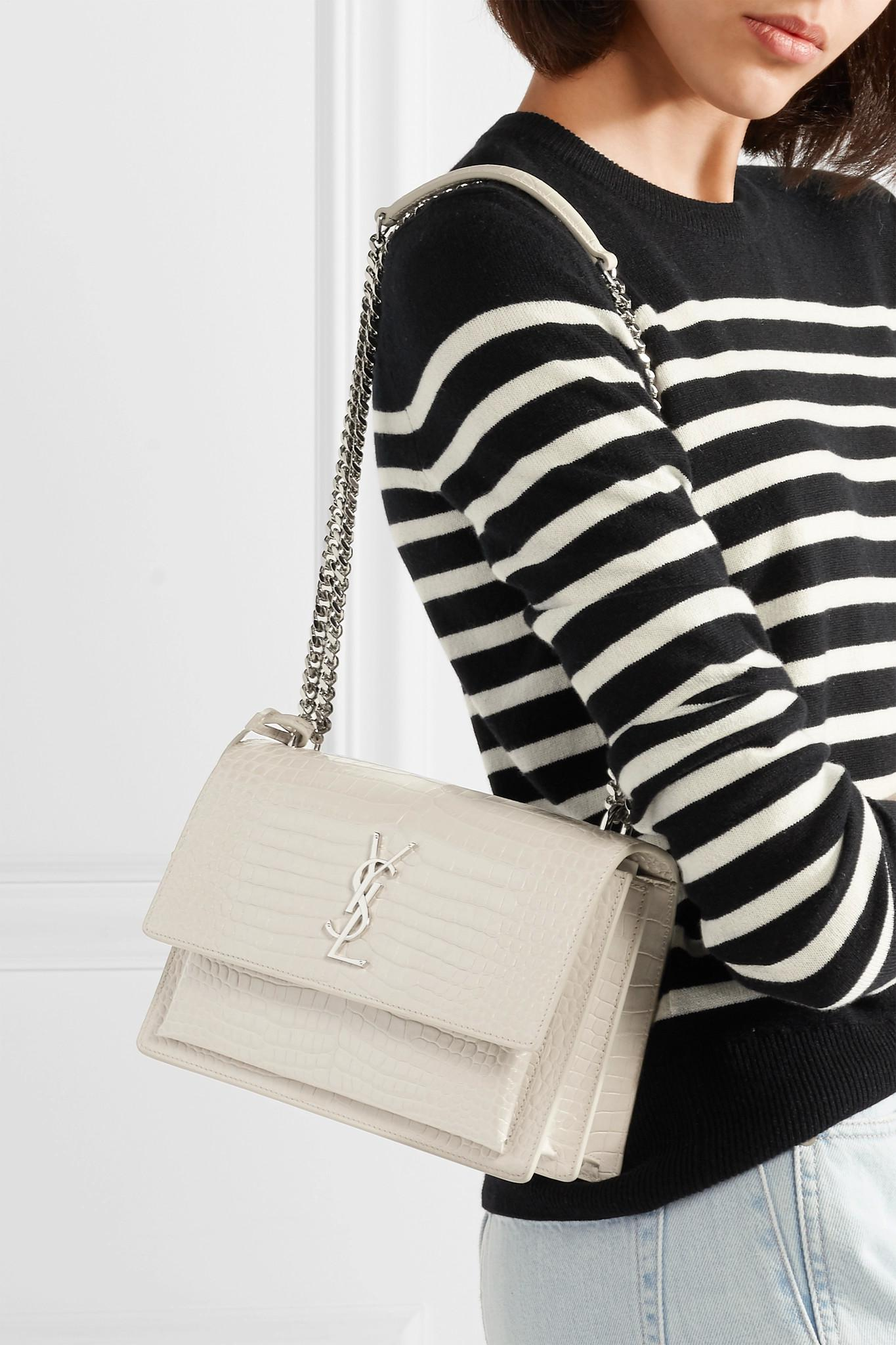 2daf1ad44103 Lyst - Saint Laurent Sunset Medium Croc-effect Leather Shoulder Bag ...
