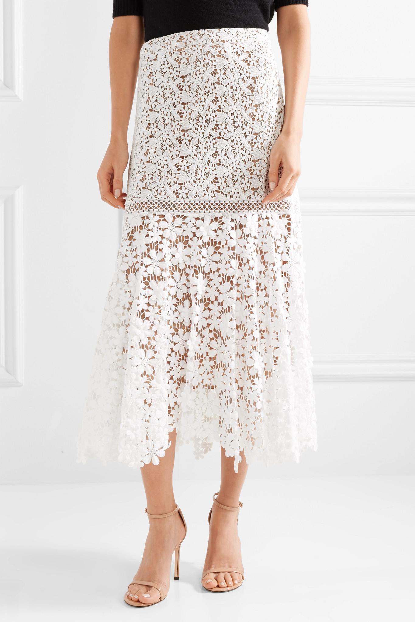 be36e2d468 MICHAEL Michael Kors Cotton Guipure Lace Midi Skirt White in White ...