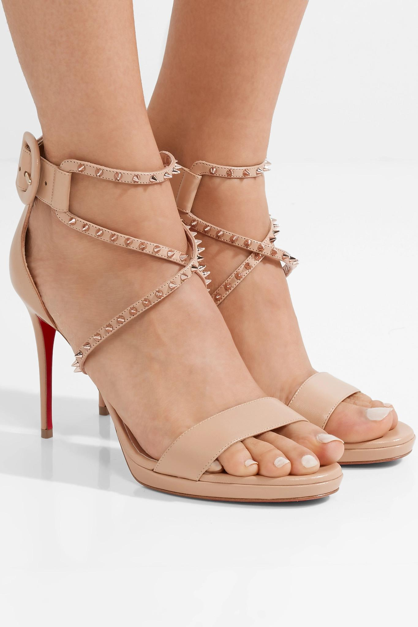 6396c5c0eed1 Christian Louboutin - Multicolor Choca Lux 100 Studded Leather Sandals -  Lyst. View fullscreen