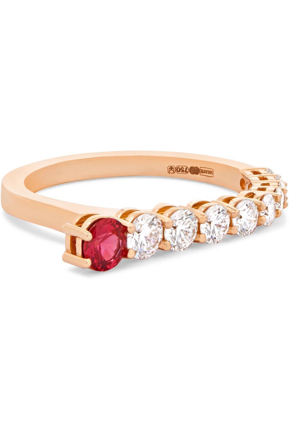 Melissa Kaye Aria 18-karat Rose Gold, Diamond And Ruby Ring