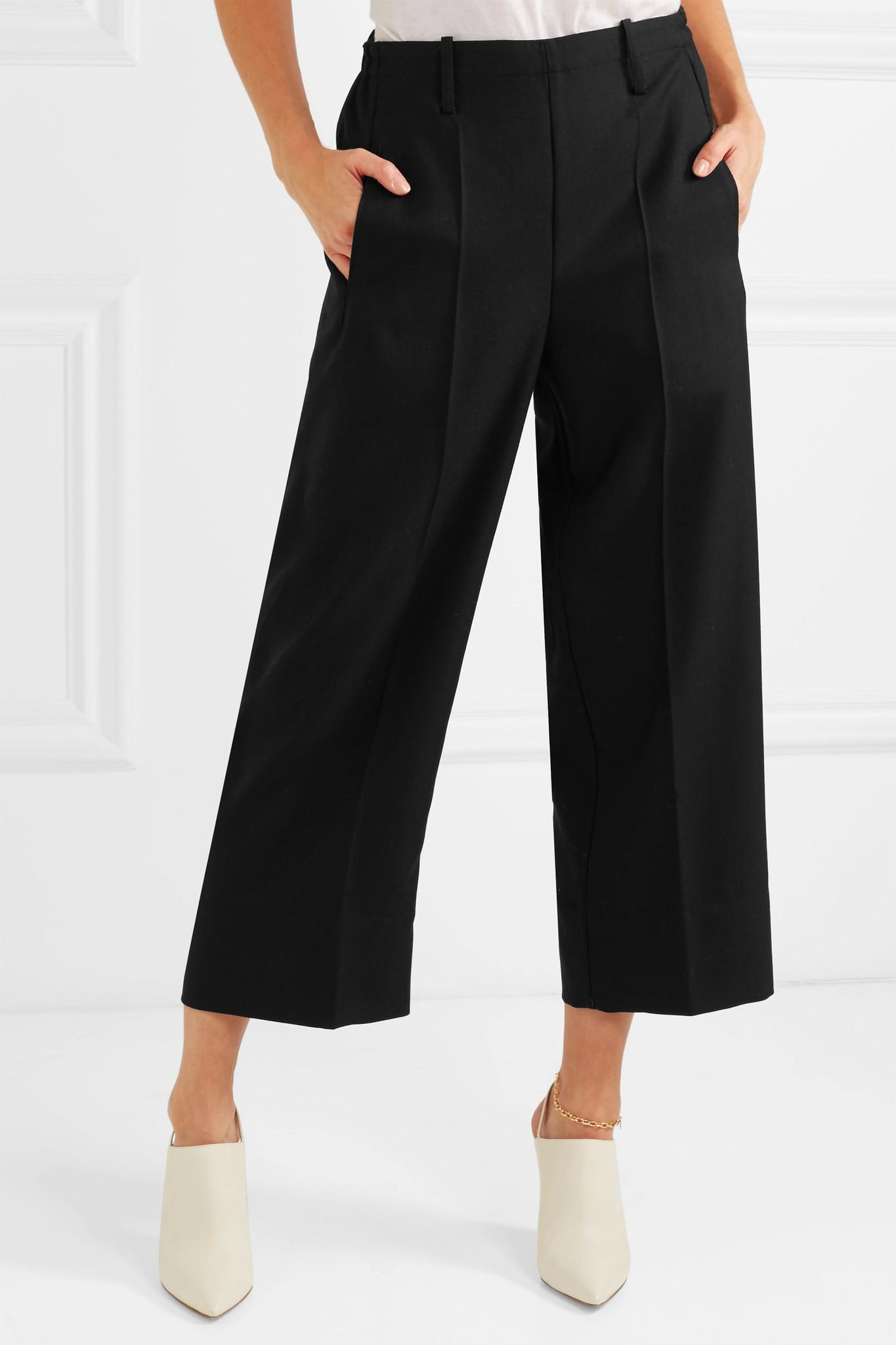 Cropped Wool-twill Wide-leg Pants - Black Christophe Lemaire Chqhio