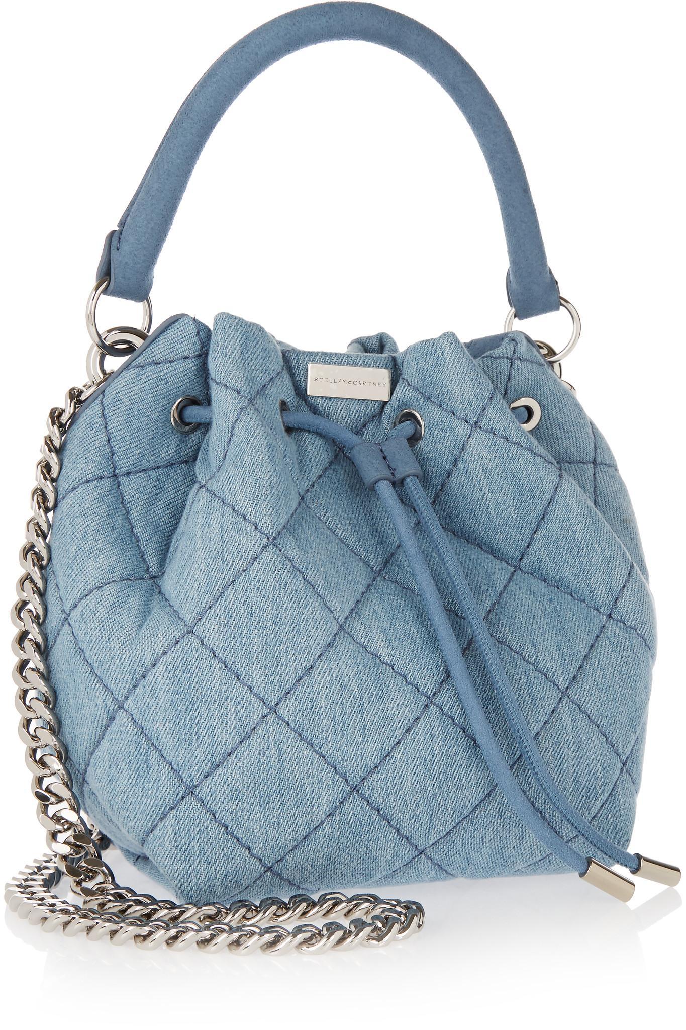 b7b90c5486b0 Lyst - Stella McCartney Beckett Small Quilted Denim Bucket Bag in Blue