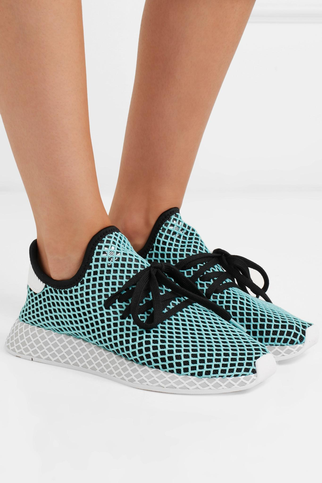 the latest 5941f 4f59e Adidas Originals - Blue + Parley Deerupt Runner Suede-trimmed Mesh Sneakers  - Lyst. View fullscreen