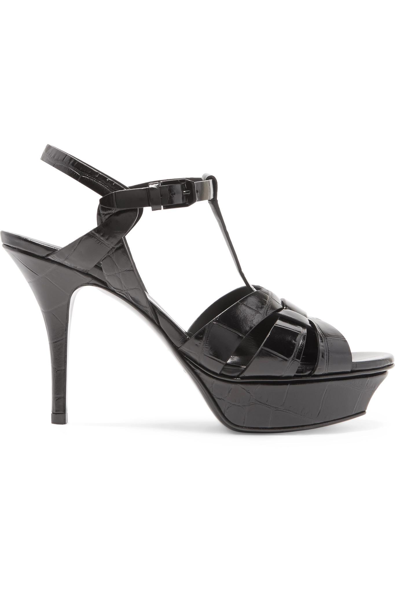 Tribute Croc-effect Leather Platform Sandals - Black Saint Laurent 0Ec29IK