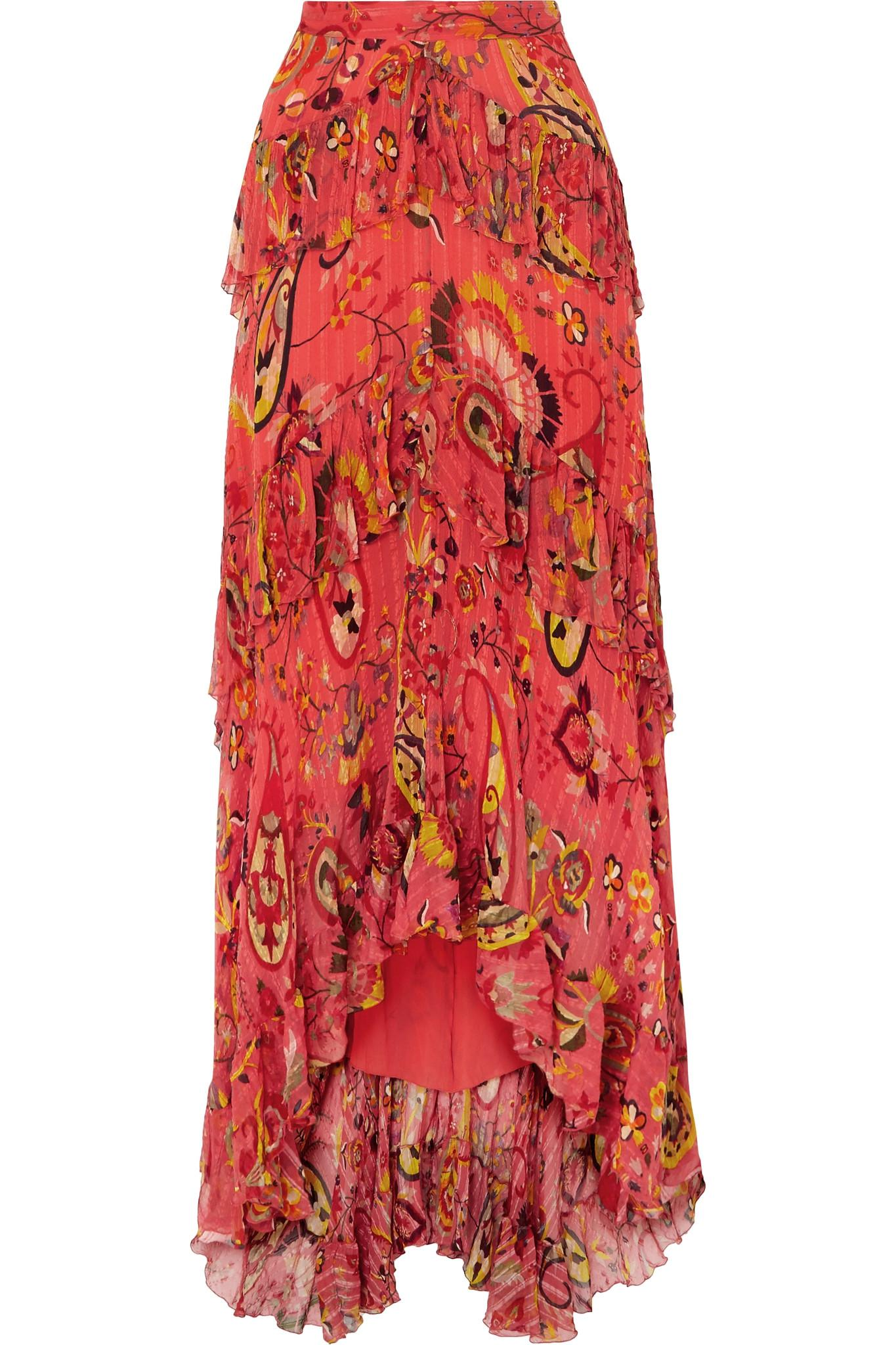 d622c36c9a Etro - Red Asymmetric Ruffled Printed Silk-crepon Maxi Skirt - Lyst. View  fullscreen