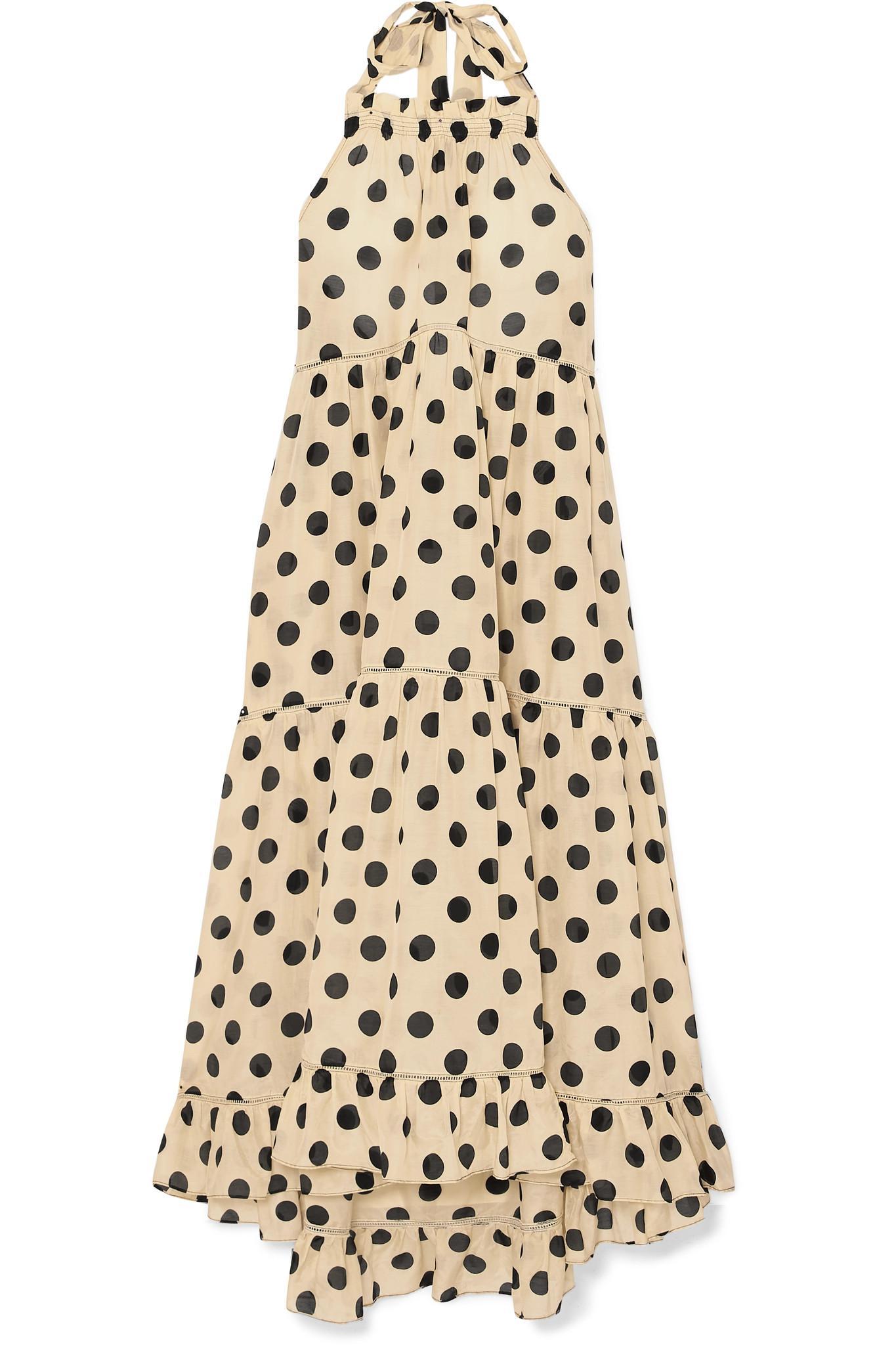 8e2b4f27d lee-mathews-beige-Minnie-Polka-dot-Silk-And-Cotton-blend-Halterneck-Dress .jpeg