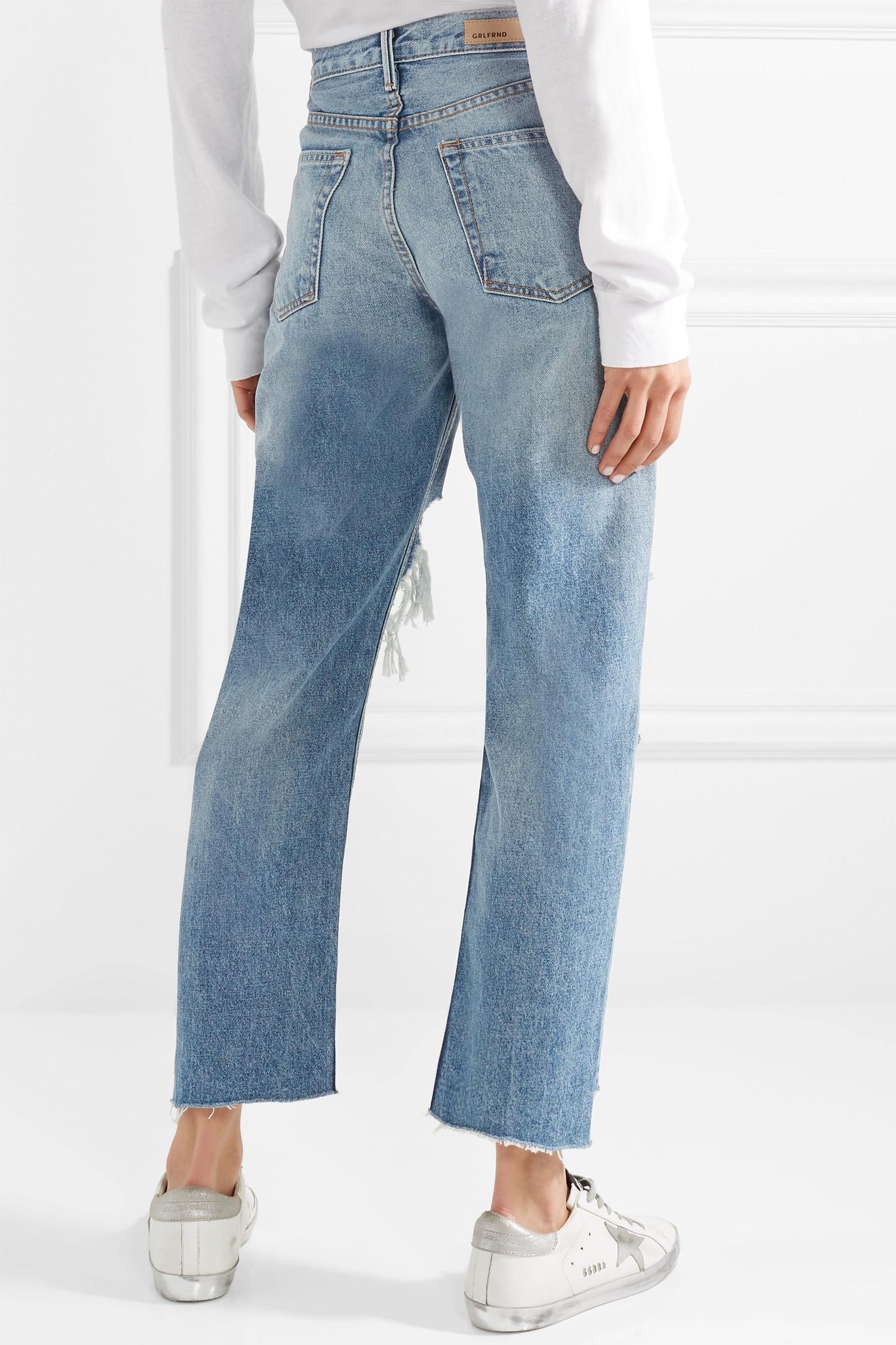 GRLFRND Denim Helena Distressed High-rise Straight-leg Jeans in Mid Denim (Blue)