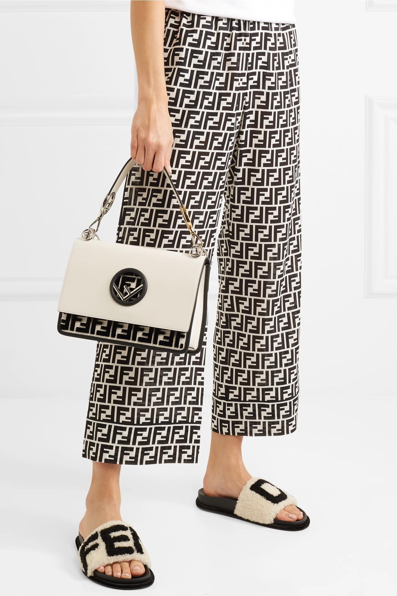 Fendi - White Kan I Flocked Leather Shoulder Bag - Lyst. View fullscreen 97383dbdcd5d0