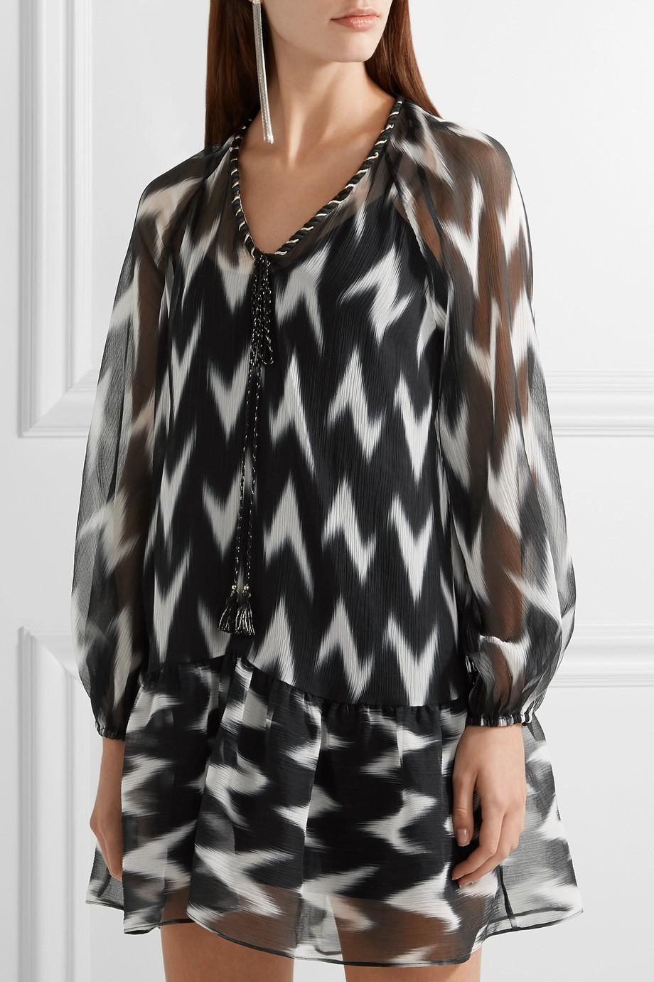 Carolina Printed Silk-georgette Mini Dress - Black Rachel Zoe FAtbm0Ea9
