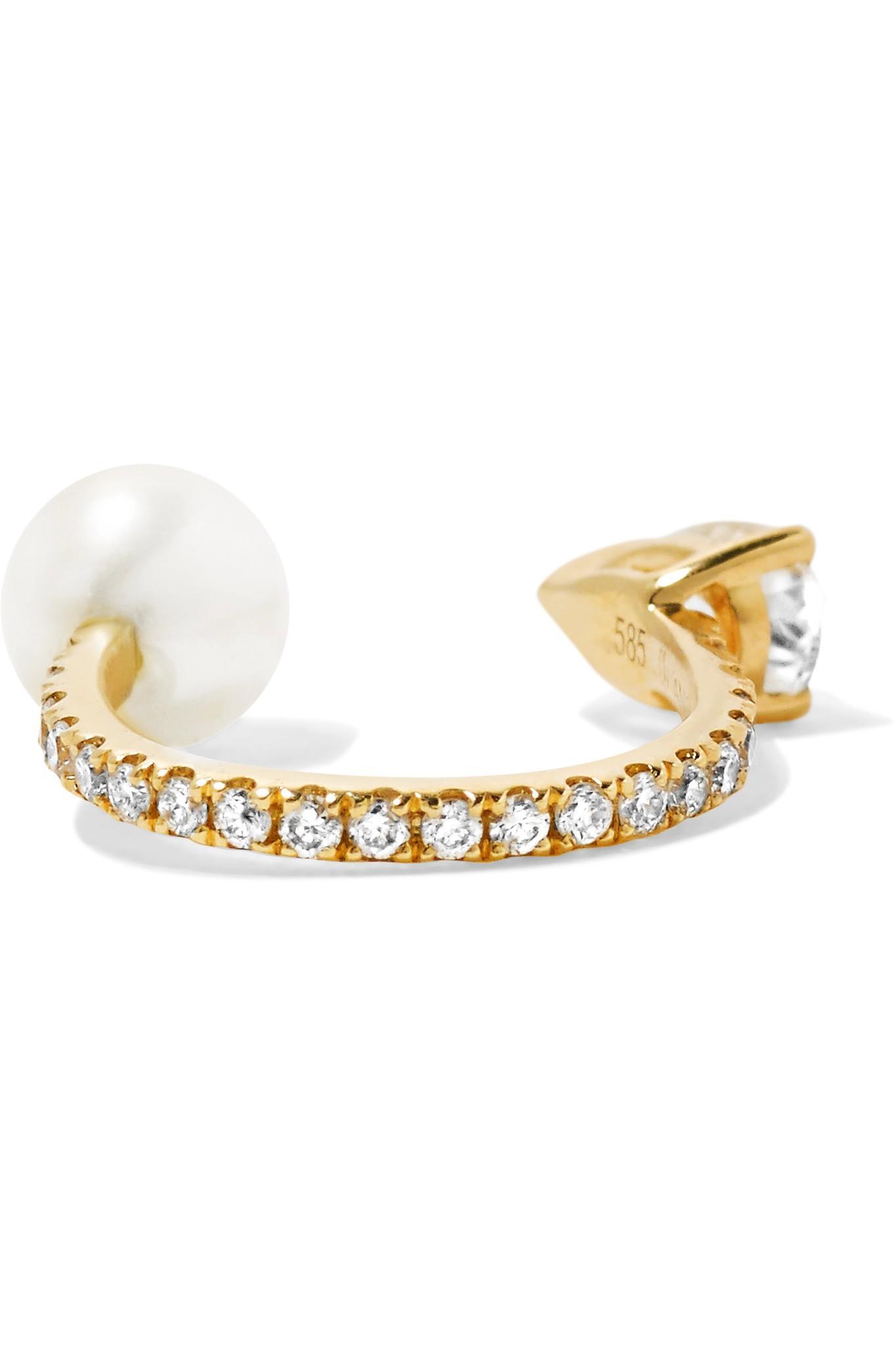 Anissa Kermiche Perle Rare 14-karat Gold Multi-stone Ear Cuff XbyEp