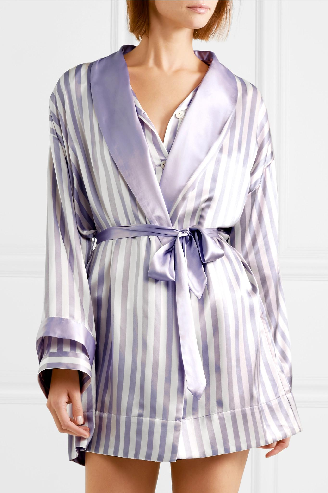 Morgan Lane - Purple + Amanda Fatherazi Bunny Appliquéd Striped Silk- charmeuse Robe - Lyst. View fullscreen 9e1dc89ec