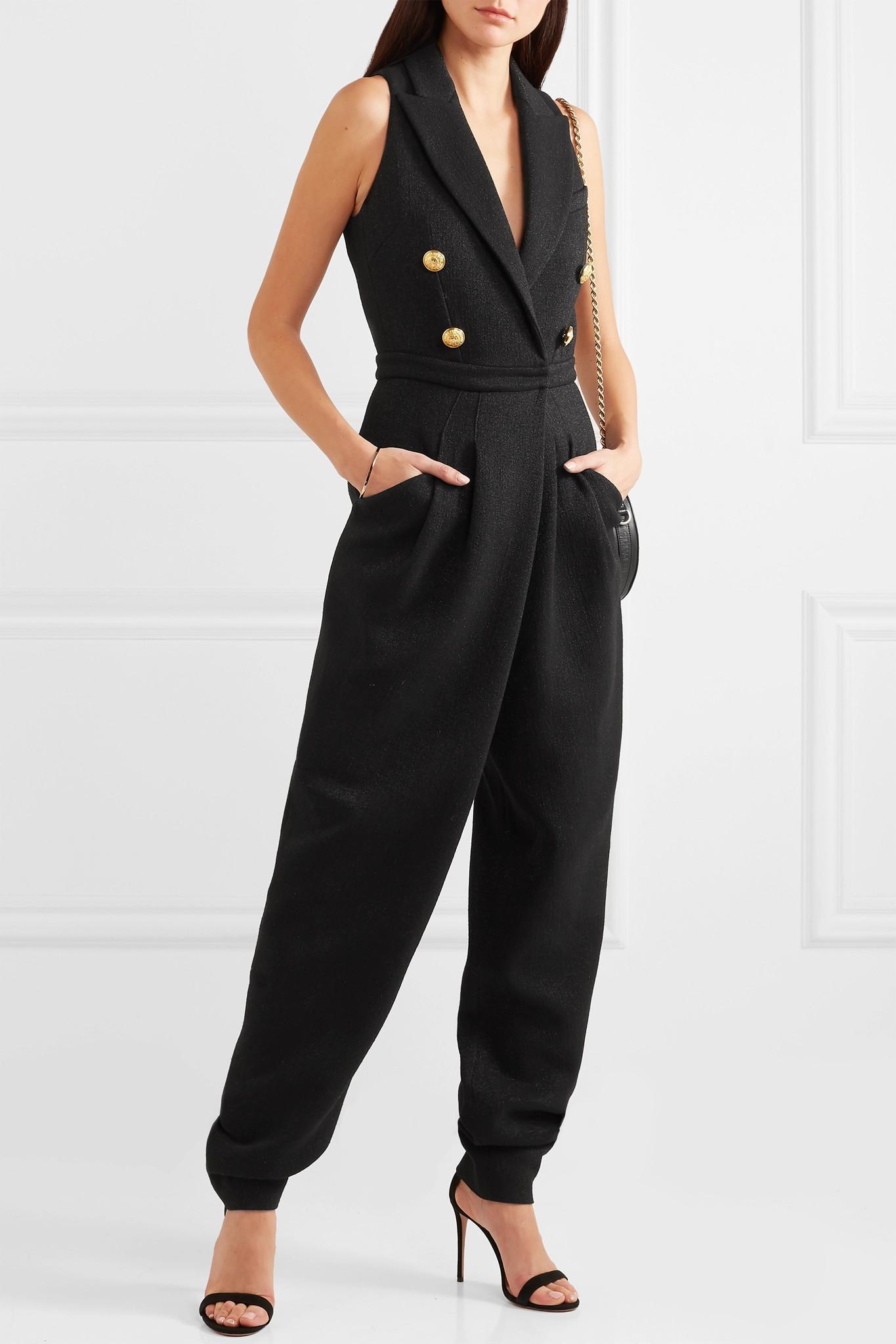 02f5436bac9 Balmain - Black Button-embellished Stretch-knit Jumpsuit - Lyst. View  fullscreen