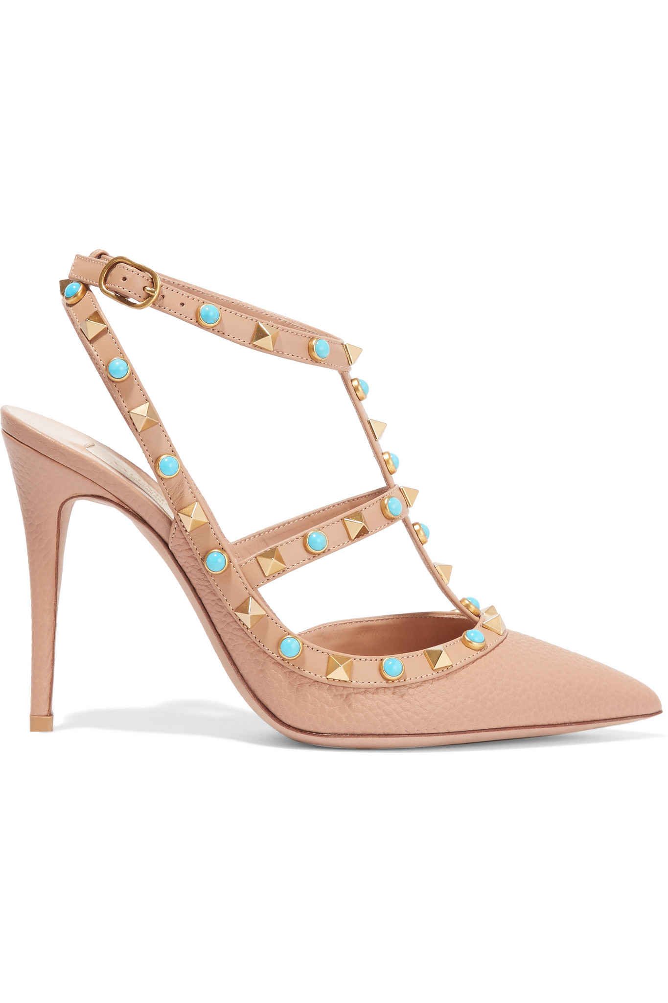 bb5e15609775 Lyst - Valentino Rockstud Embellished Leather Pumps in Natural